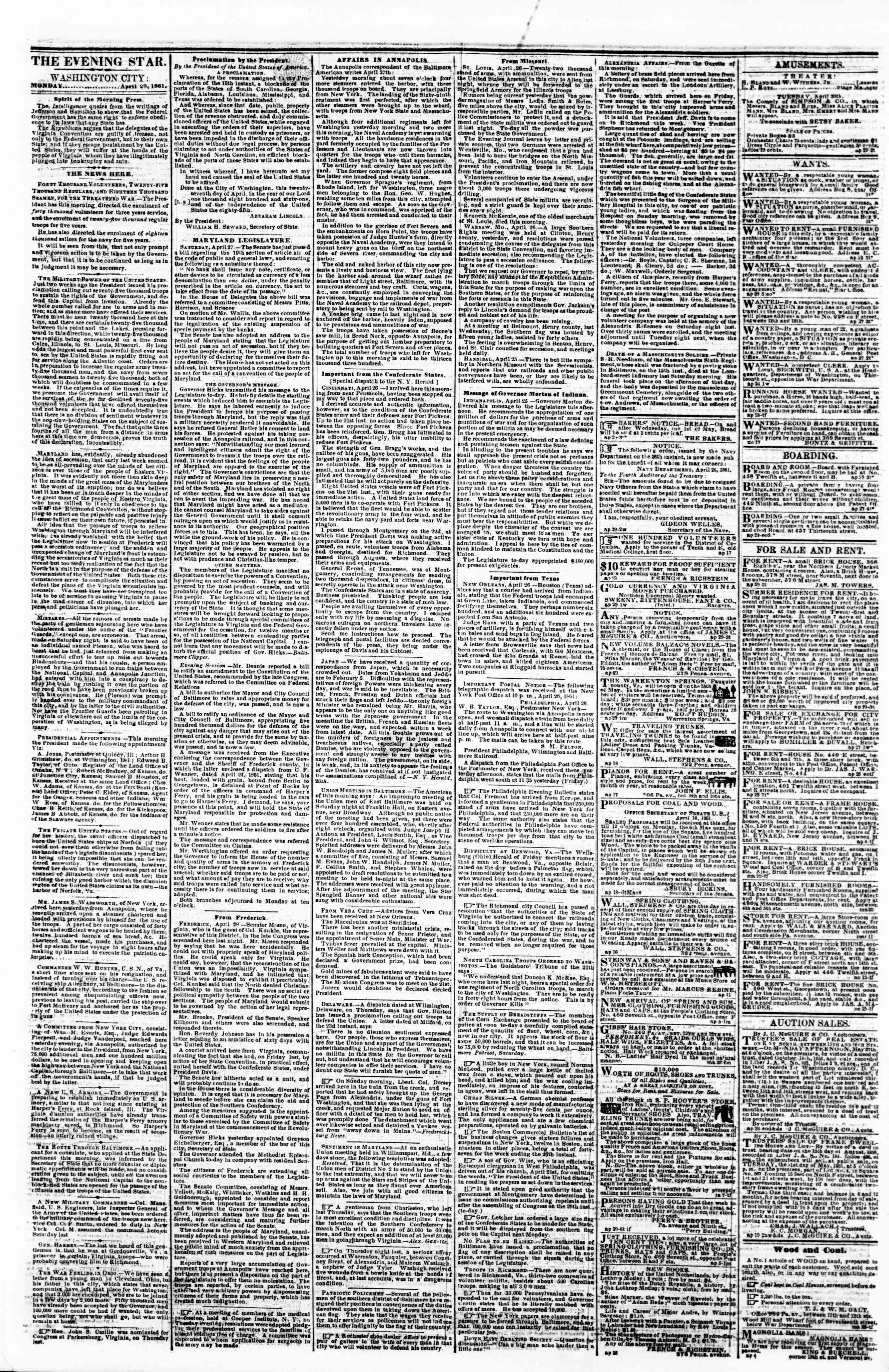 Newspaper of Evening Star dated April 29, 1861 Page 1