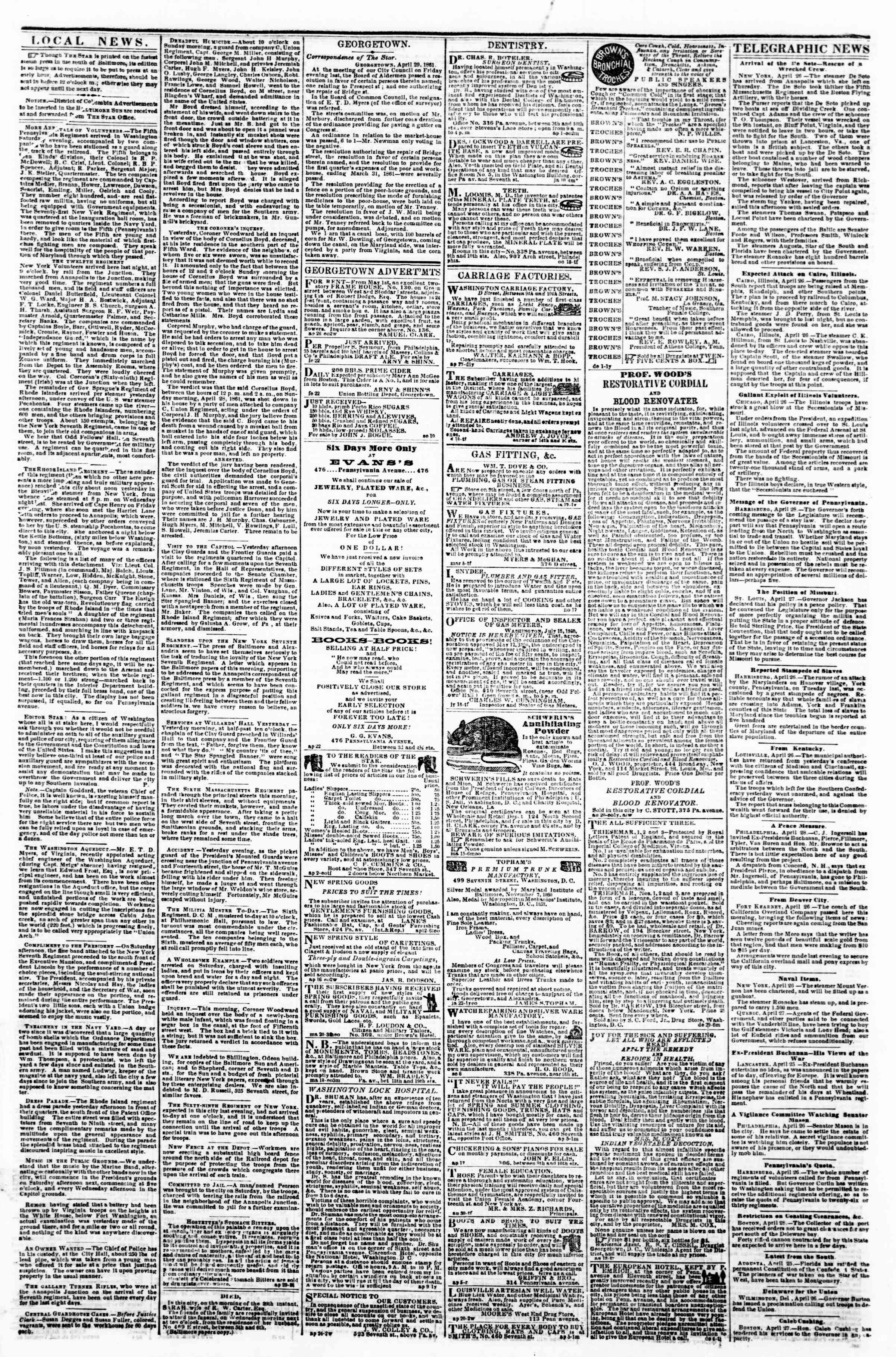 Newspaper of Evening Star dated April 29, 1861 Page 2