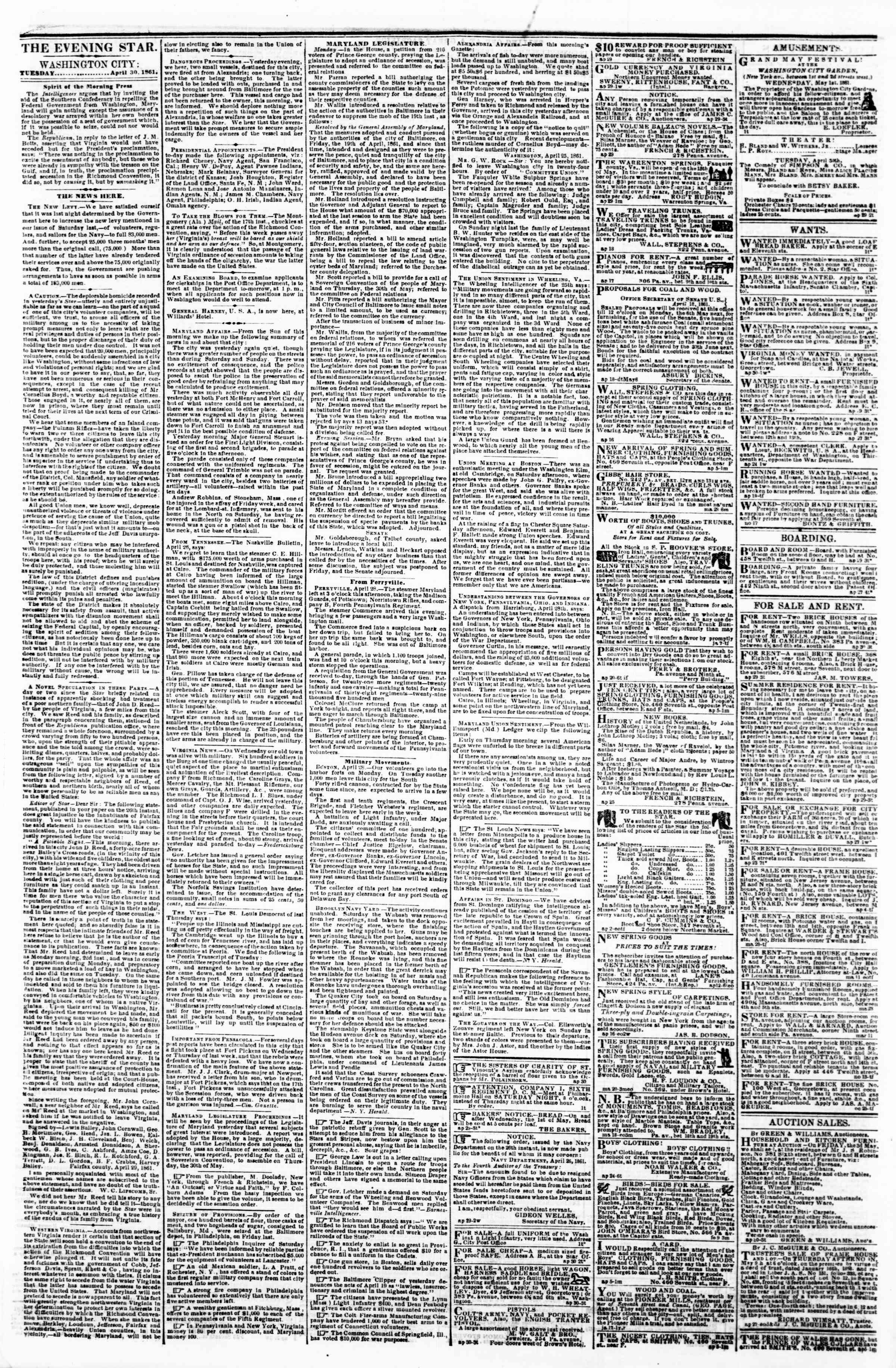 Newspaper of Evening Star dated April 30, 1861 Page 1