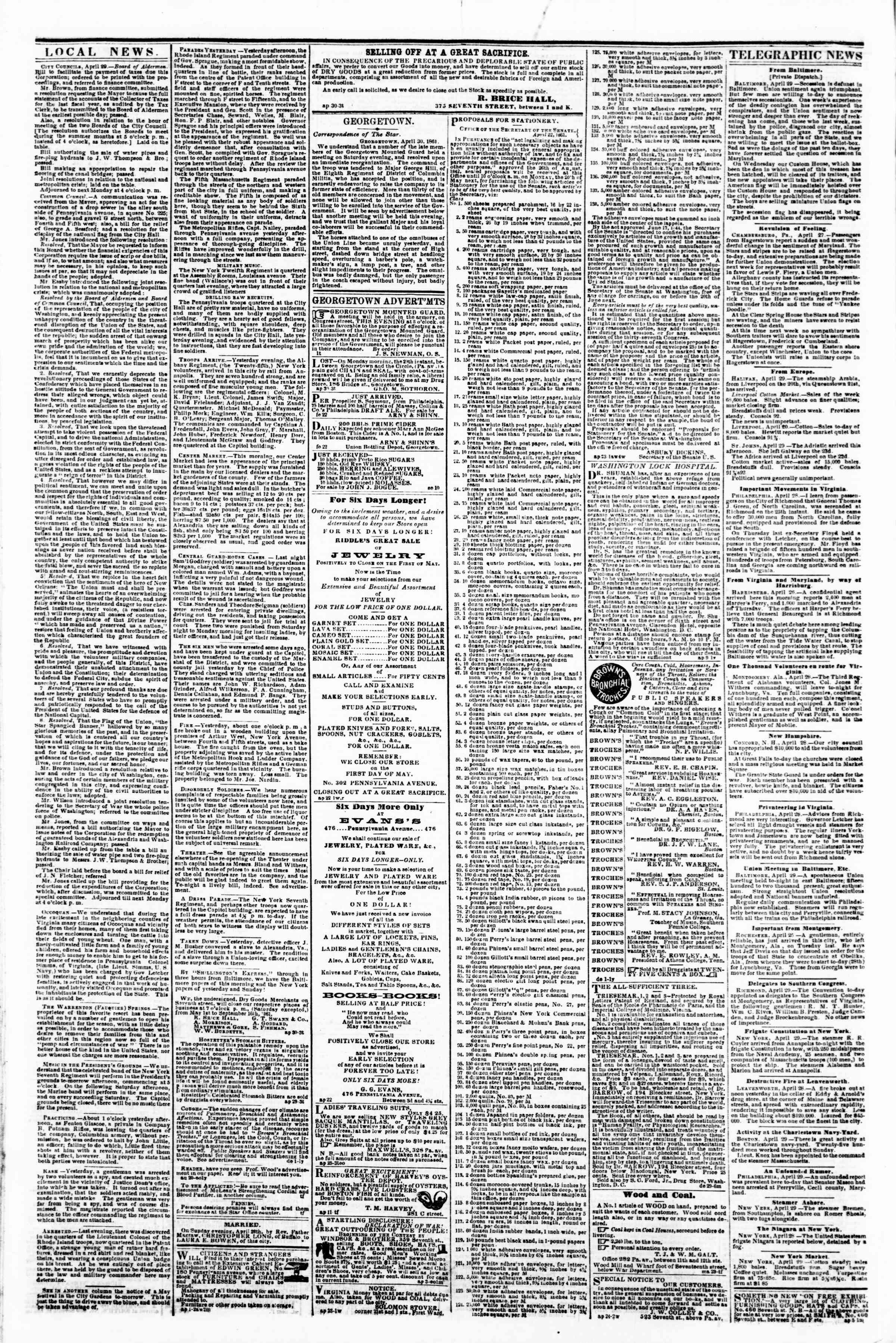 Newspaper of Evening Star dated April 30, 1861 Page 2