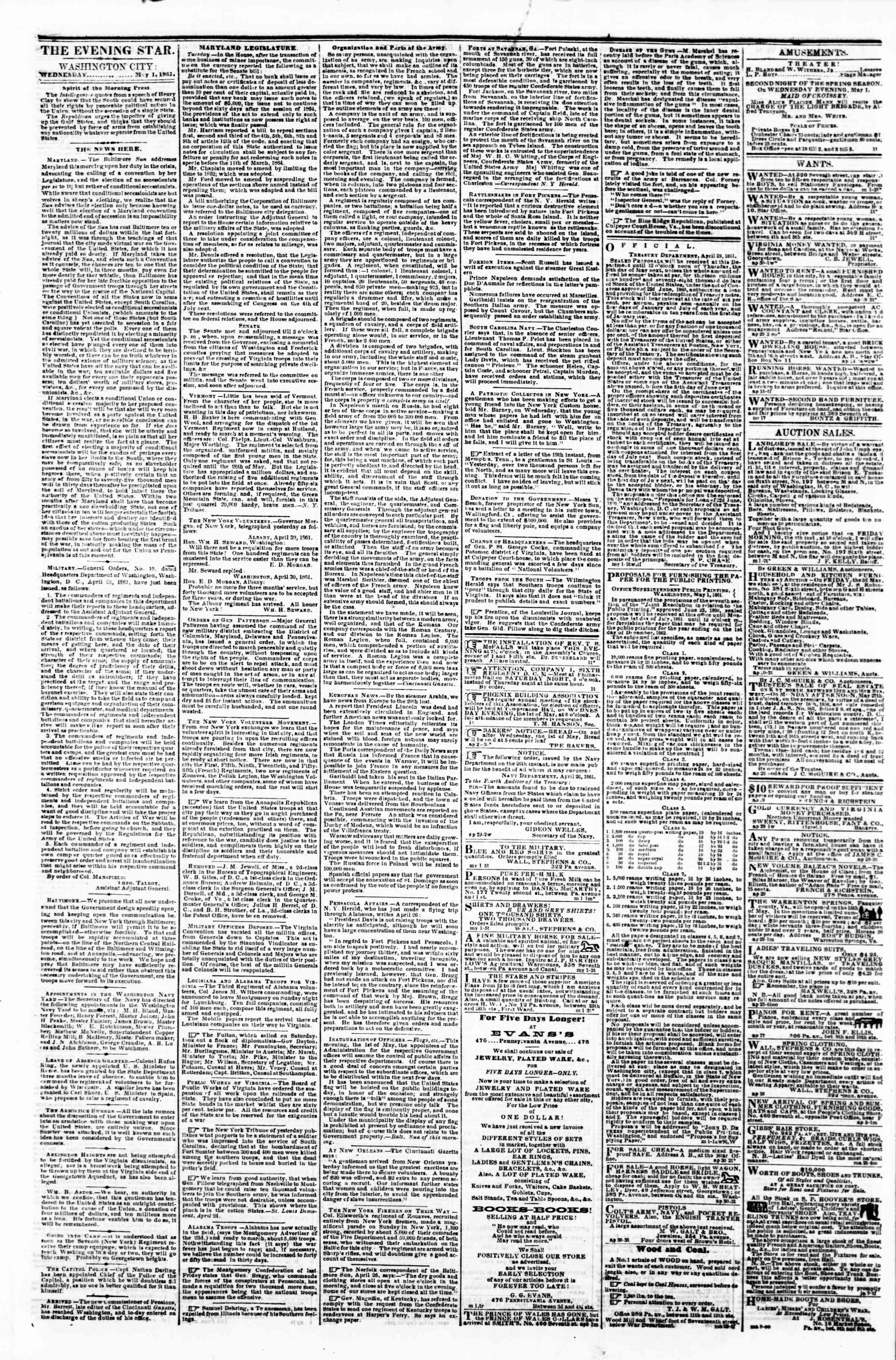Newspaper of Evening Star dated May 1, 1861 Page 1