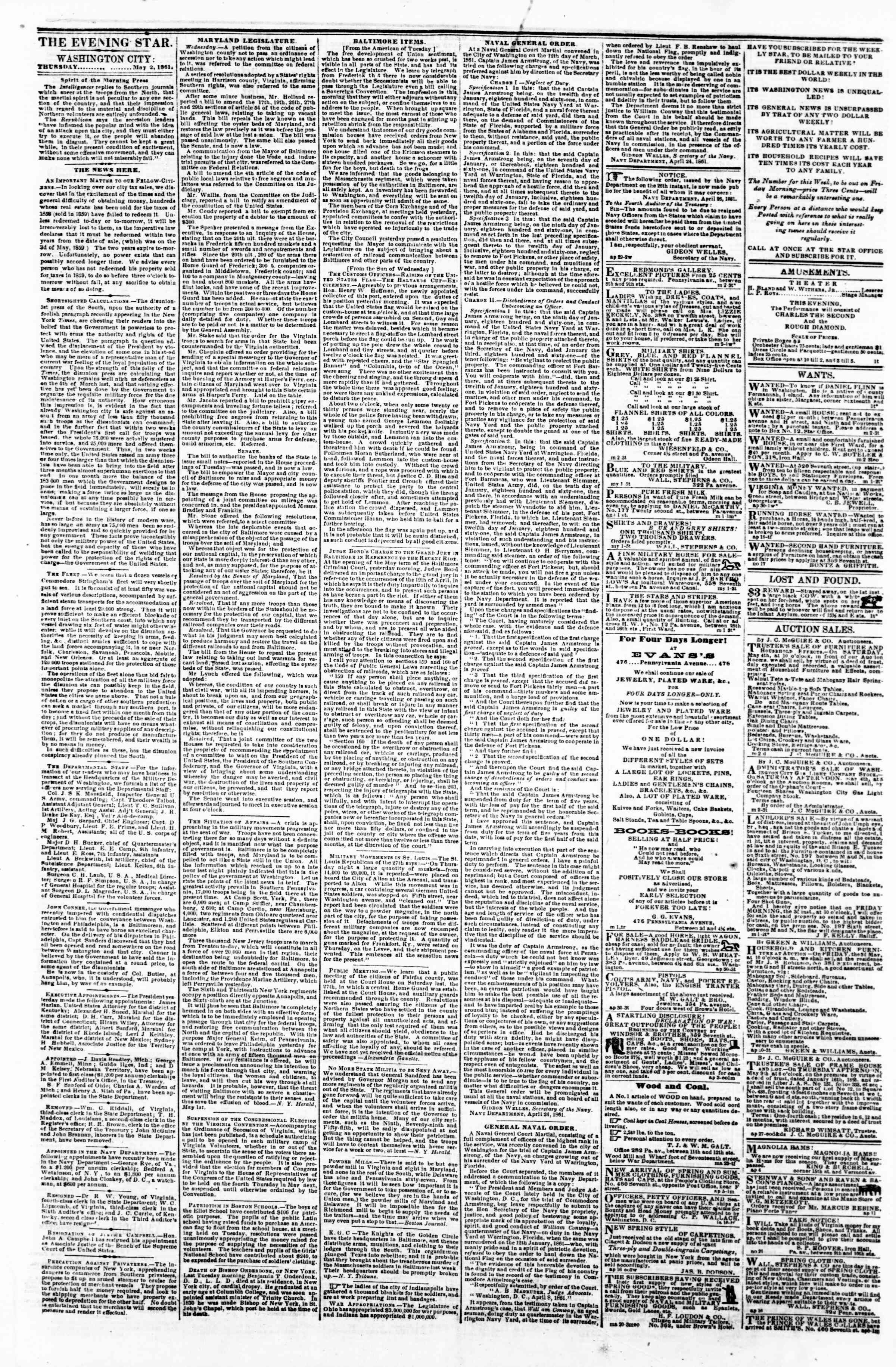 Newspaper of Evening Star dated May 2, 1861 Page 1