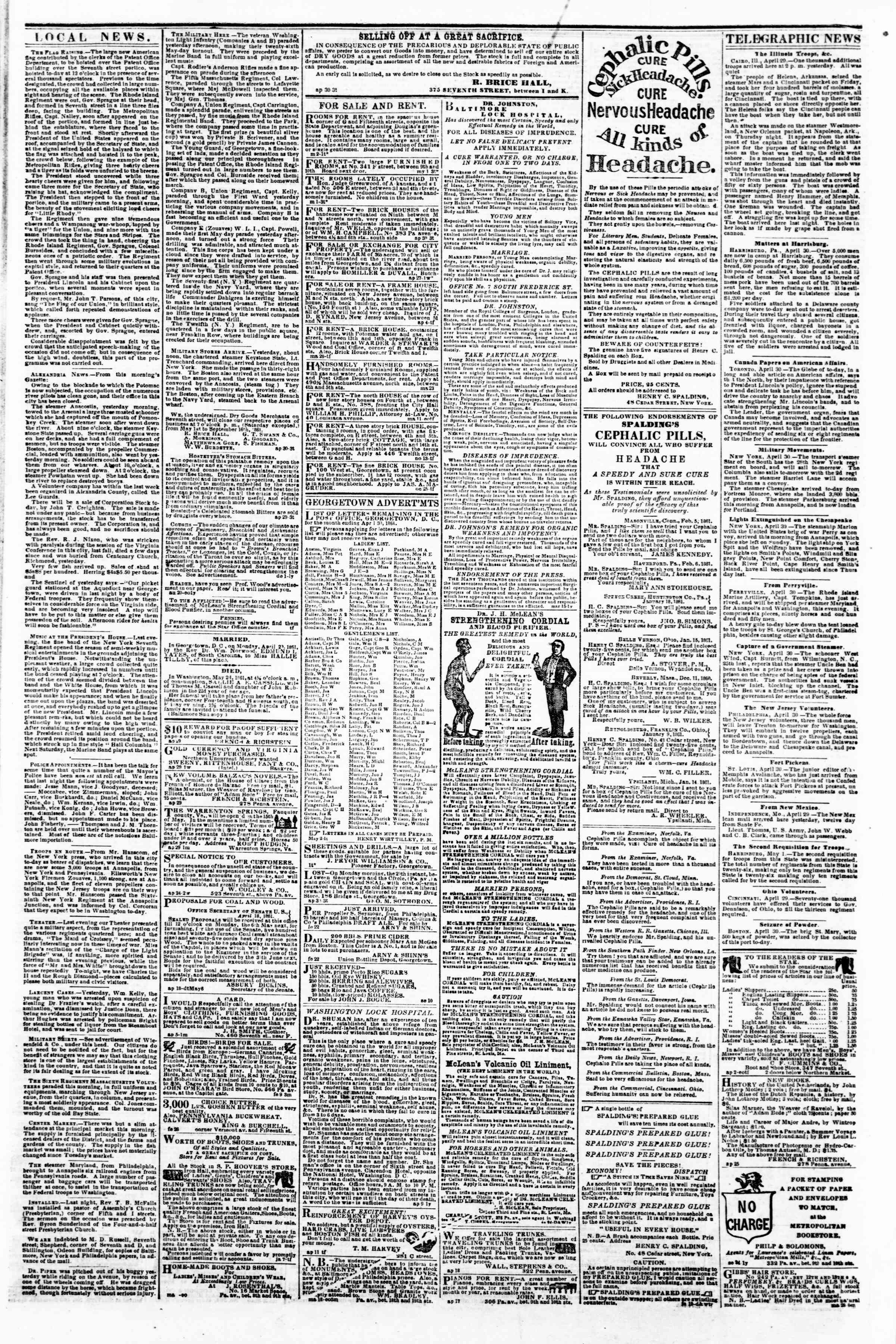 Newspaper of Evening Star dated May 2, 1861 Page 2