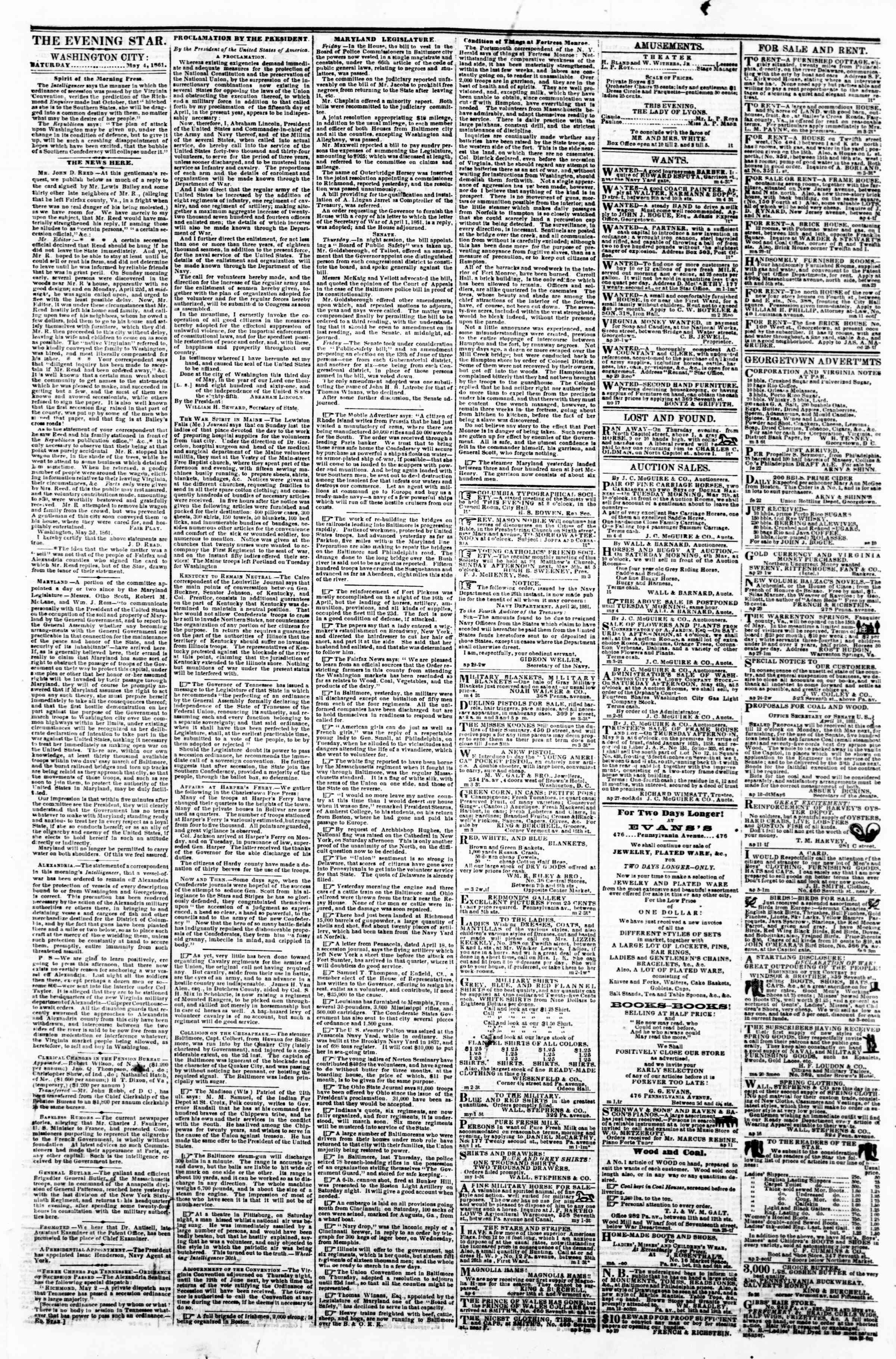 Newspaper of Evening Star dated May 4, 1861 Page 1