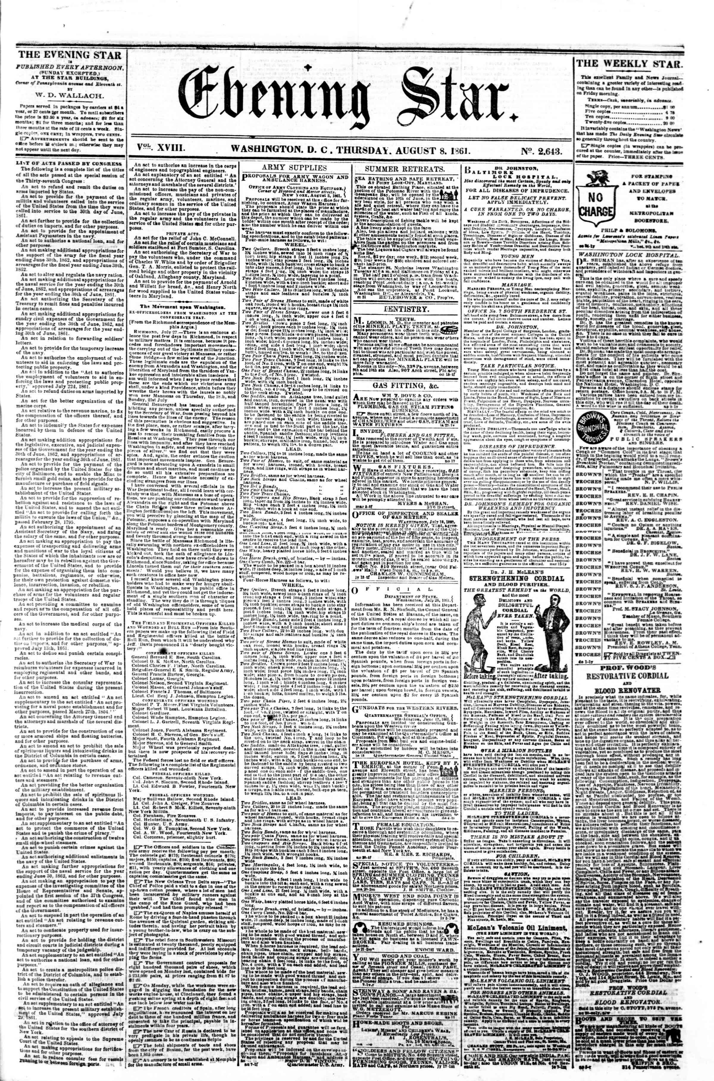 Newspaper of Evening Star dated August 8, 1861 Page 1