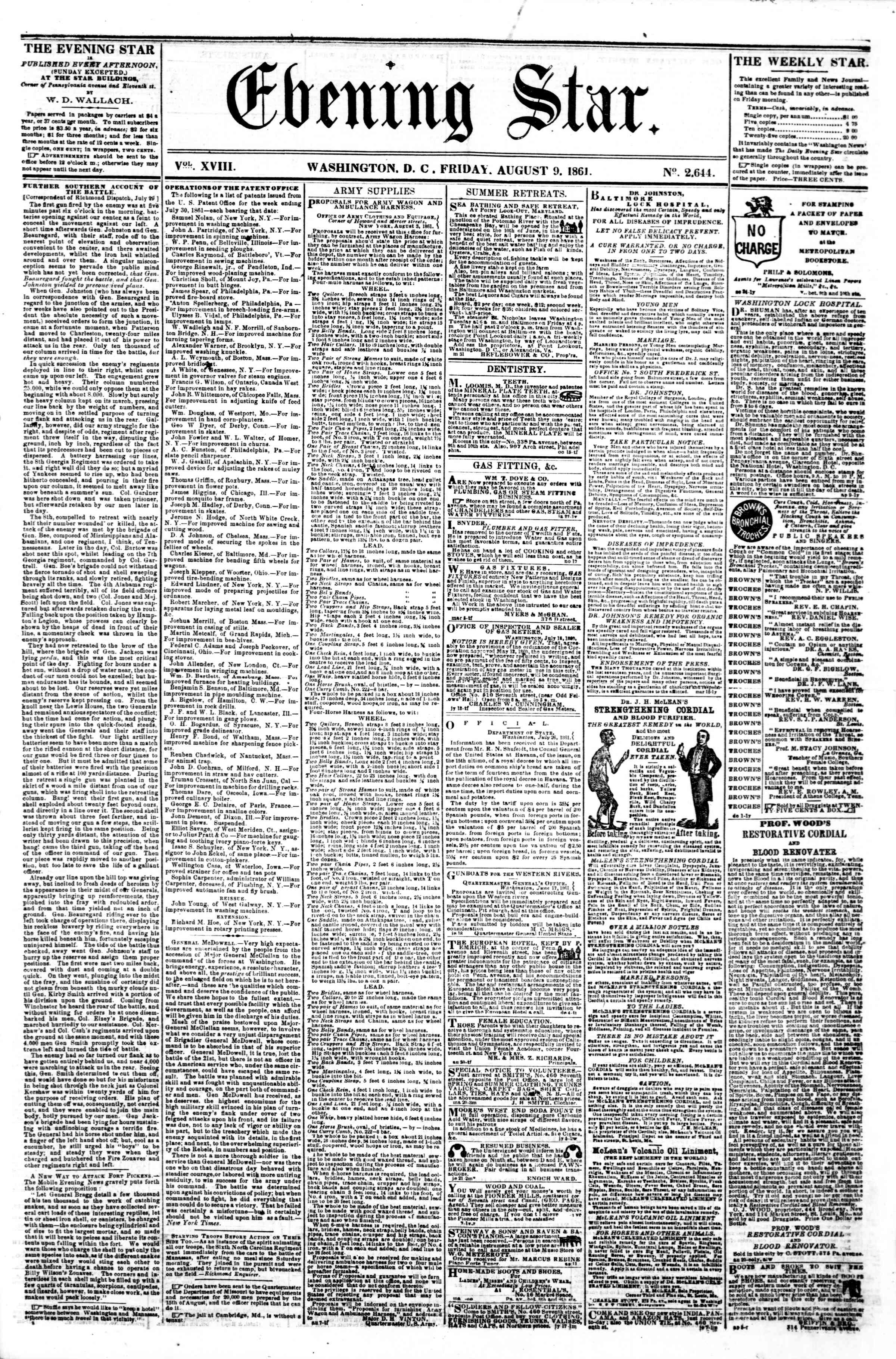Newspaper of Evening Star dated August 9, 1861 Page 1