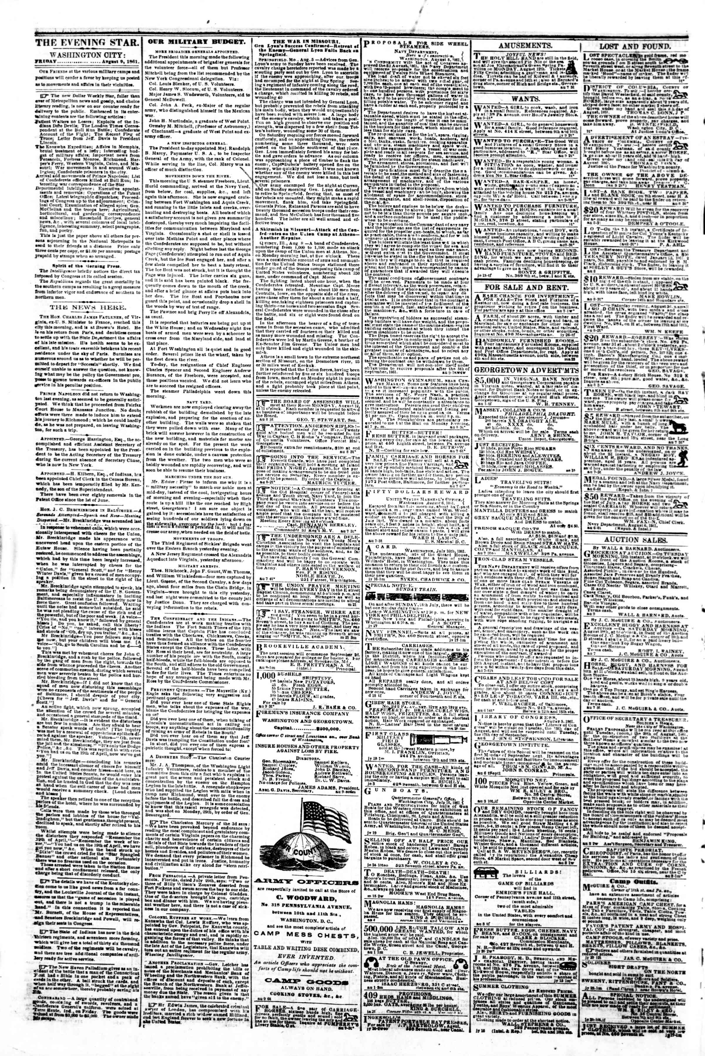 Newspaper of Evening Star dated August 9, 1861 Page 2
