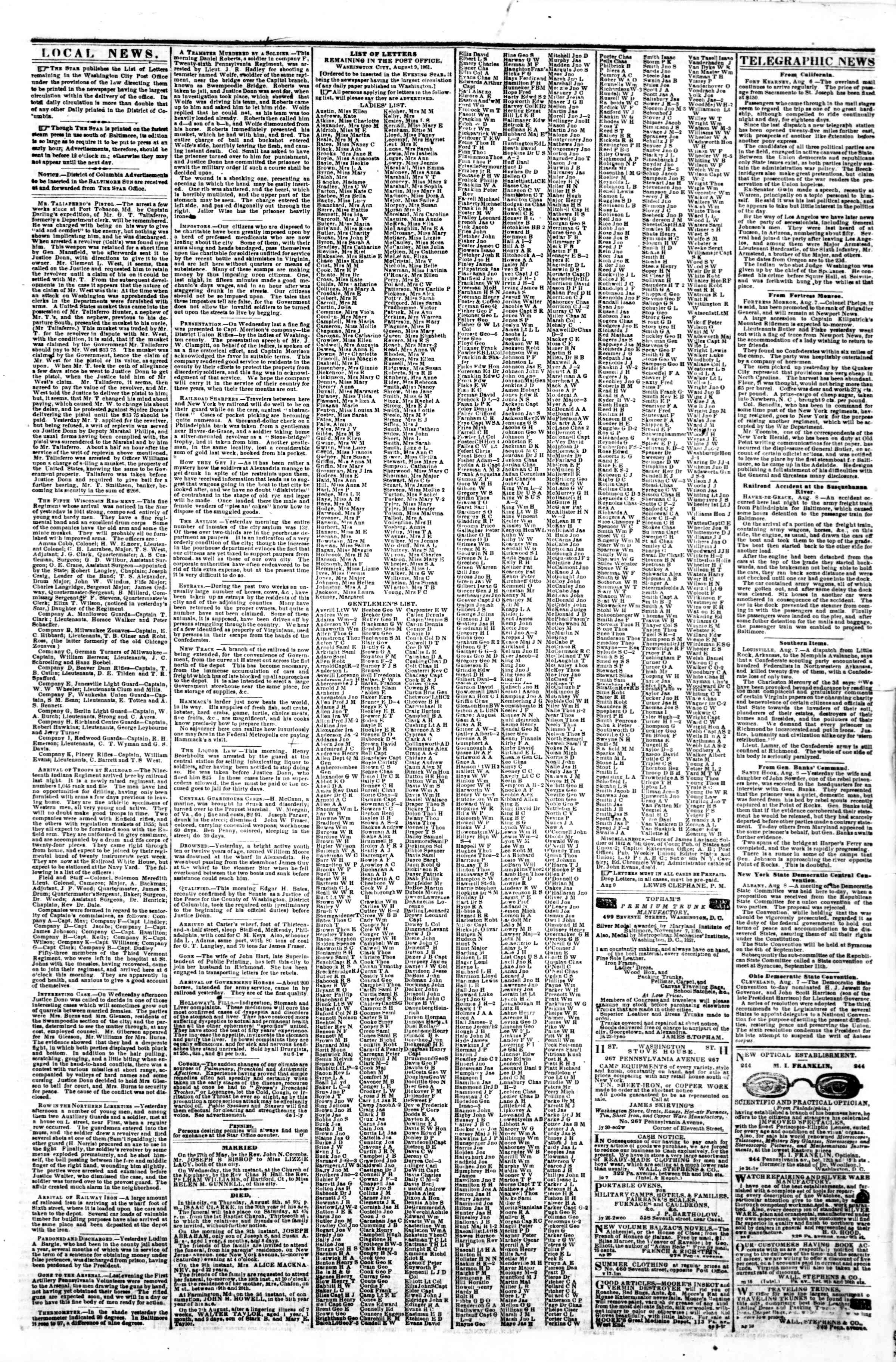 Newspaper of Evening Star dated August 9, 1861 Page 3