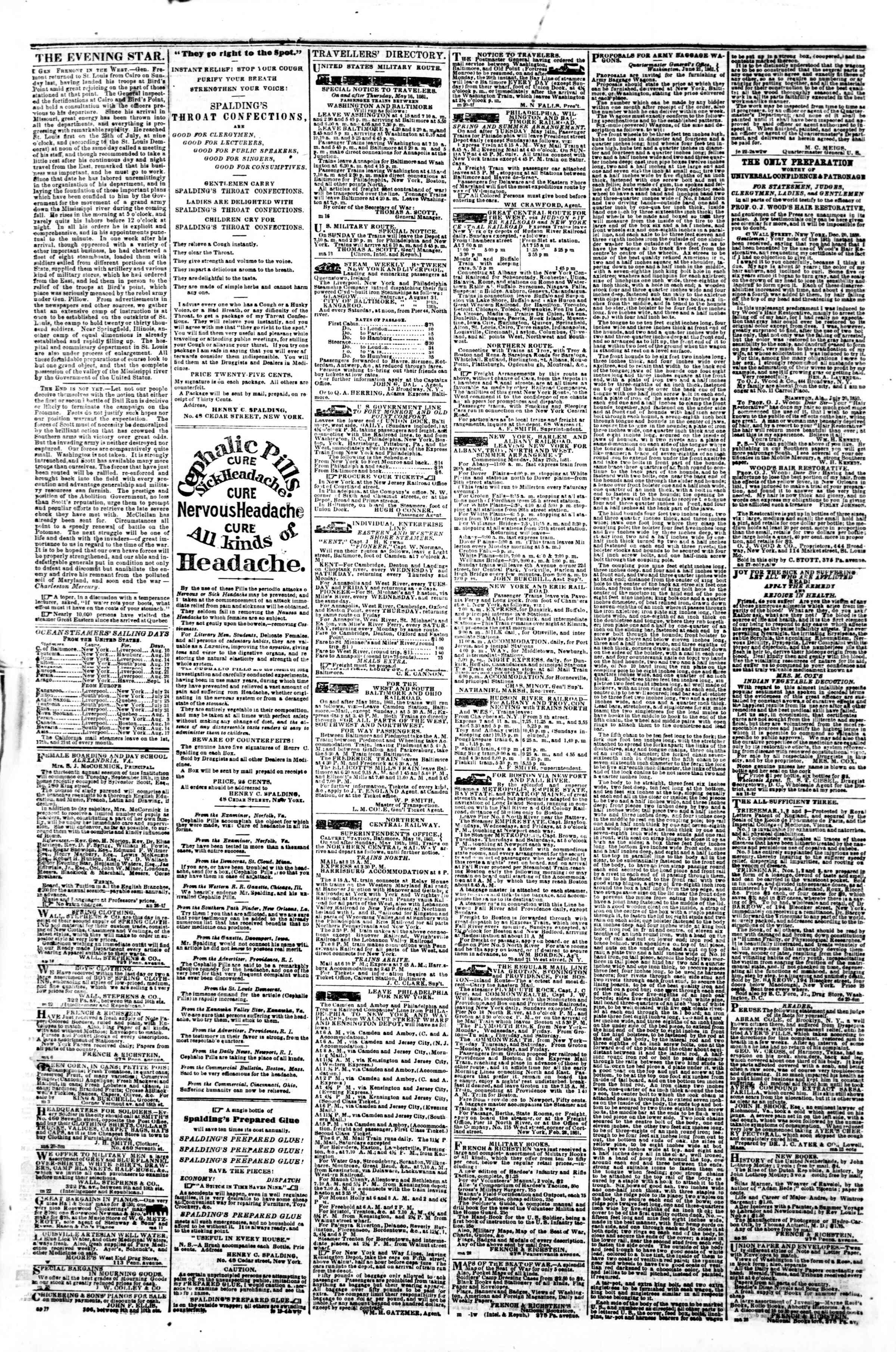 Newspaper of Evening Star dated August 9, 1861 Page 4