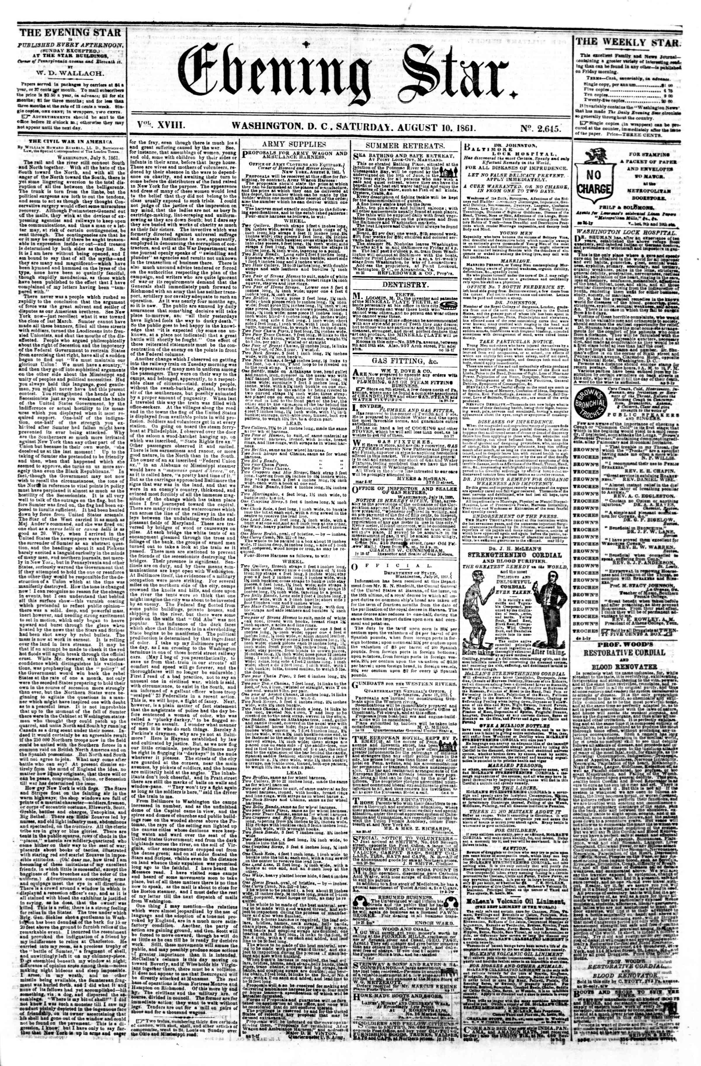 Newspaper of Evening Star dated August 10, 1861 Page 1