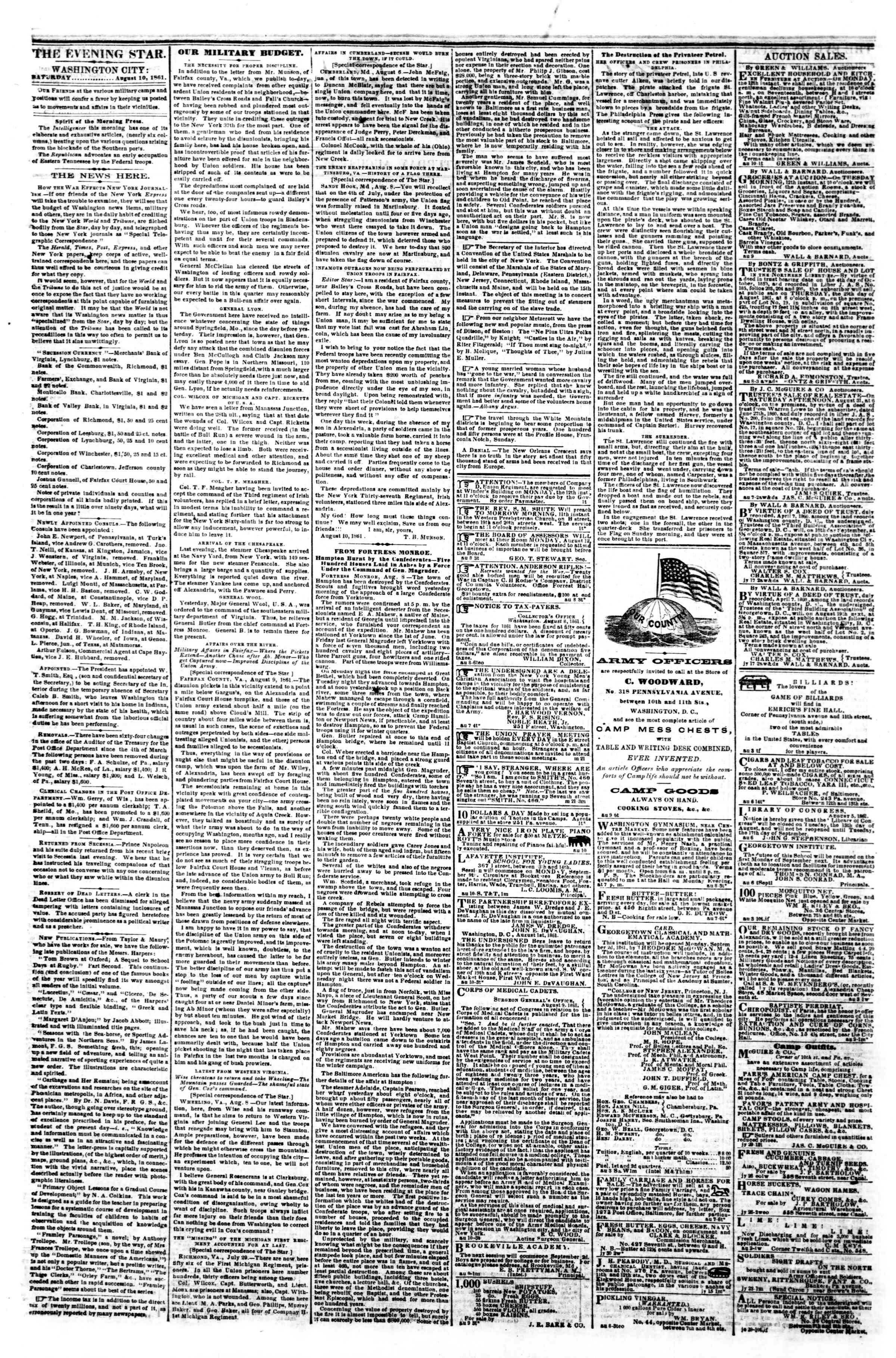 10 Ağustos 1861 tarihli Evening Star Gazetesi Sayfa 2