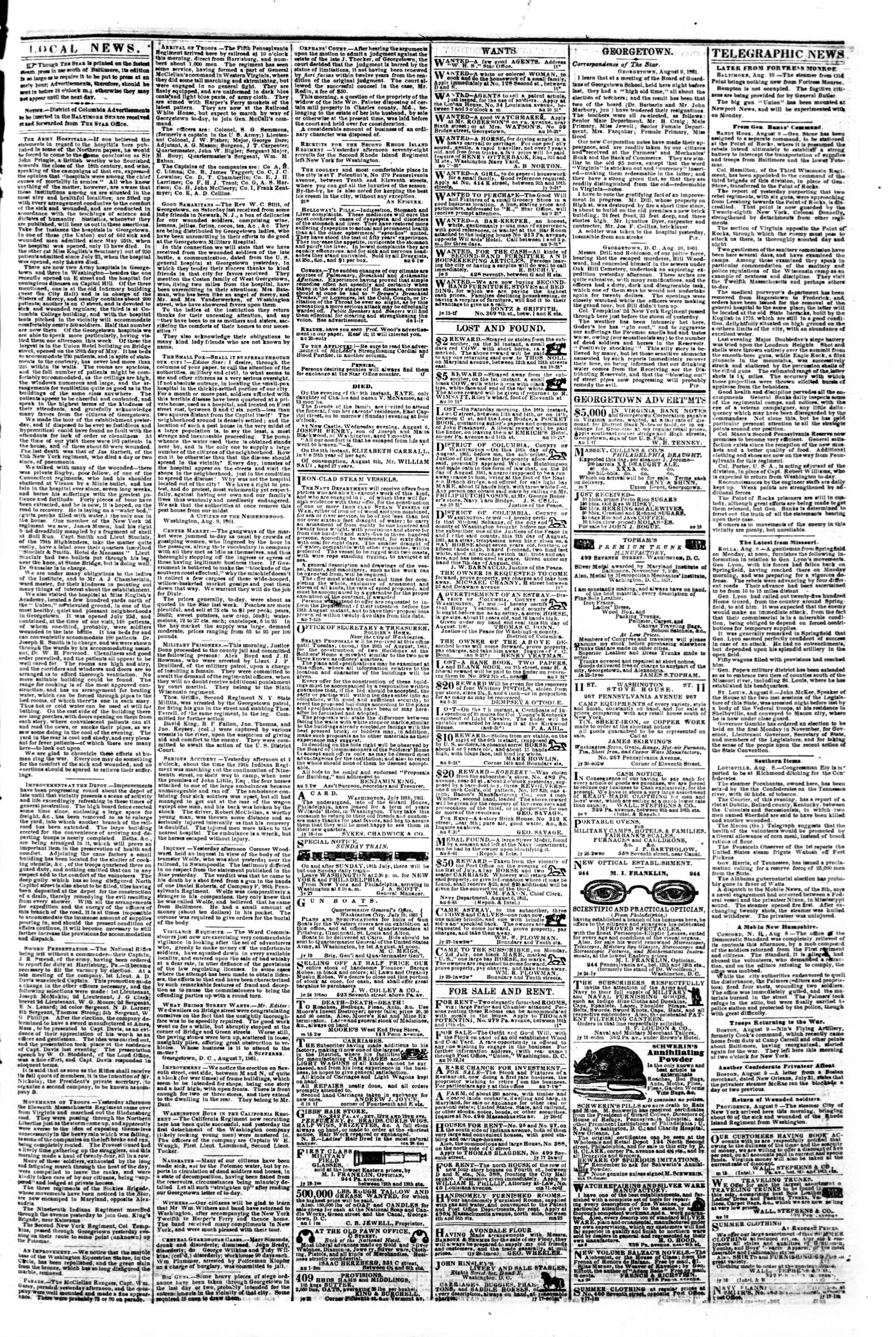 Newspaper of Evening Star dated August 10, 1861 Page 3