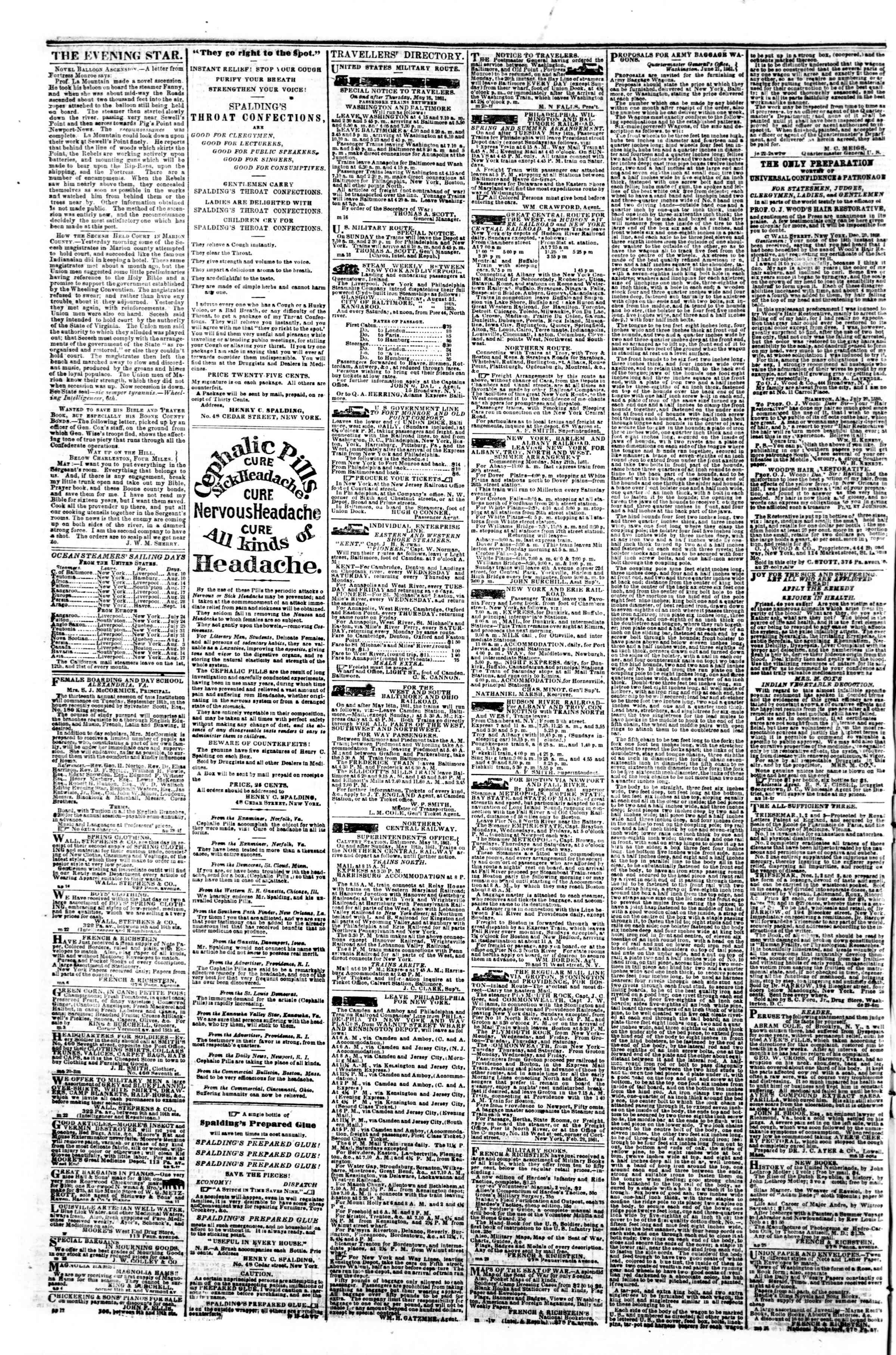 Newspaper of Evening Star dated August 10, 1861 Page 4