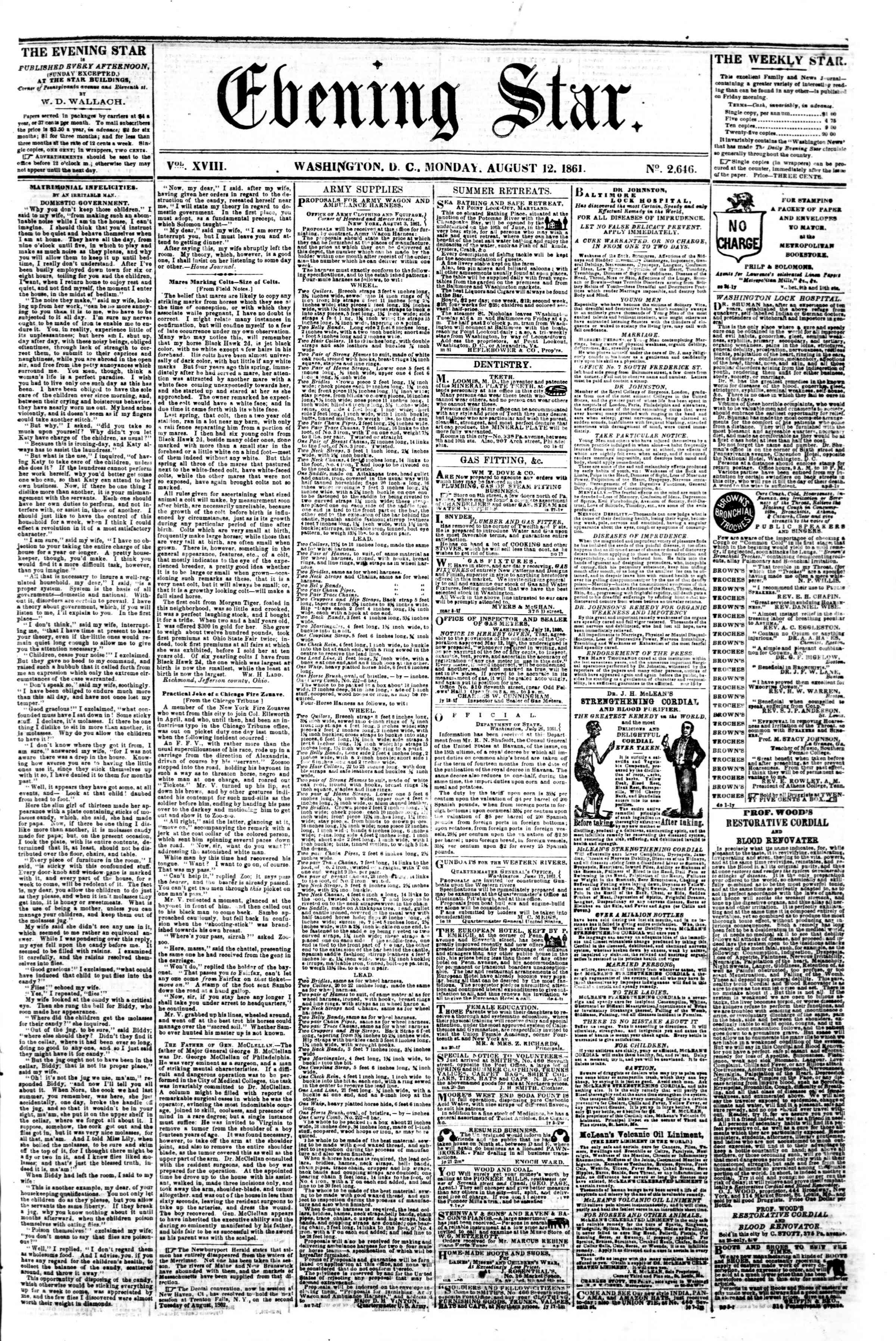 Newspaper of Evening Star dated August 12, 1861 Page 1