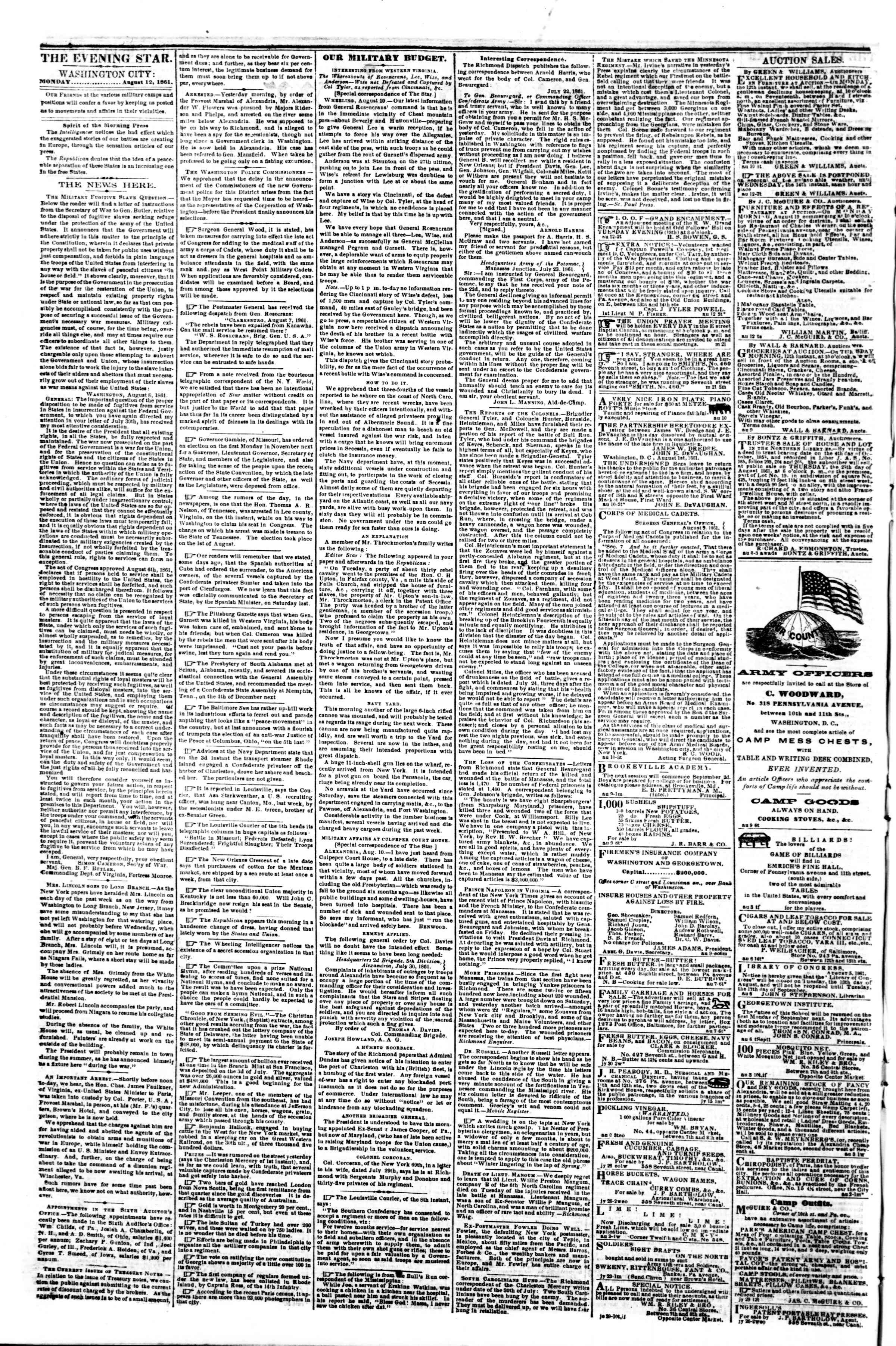 Newspaper of Evening Star dated August 12, 1861 Page 2