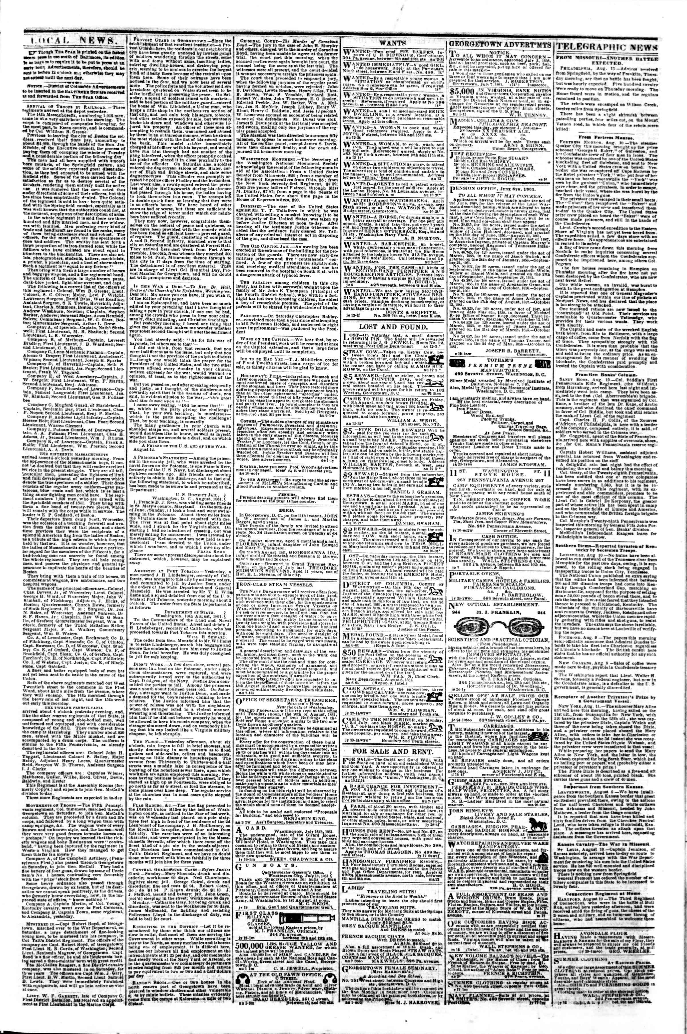 Newspaper of Evening Star dated August 12, 1861 Page 3