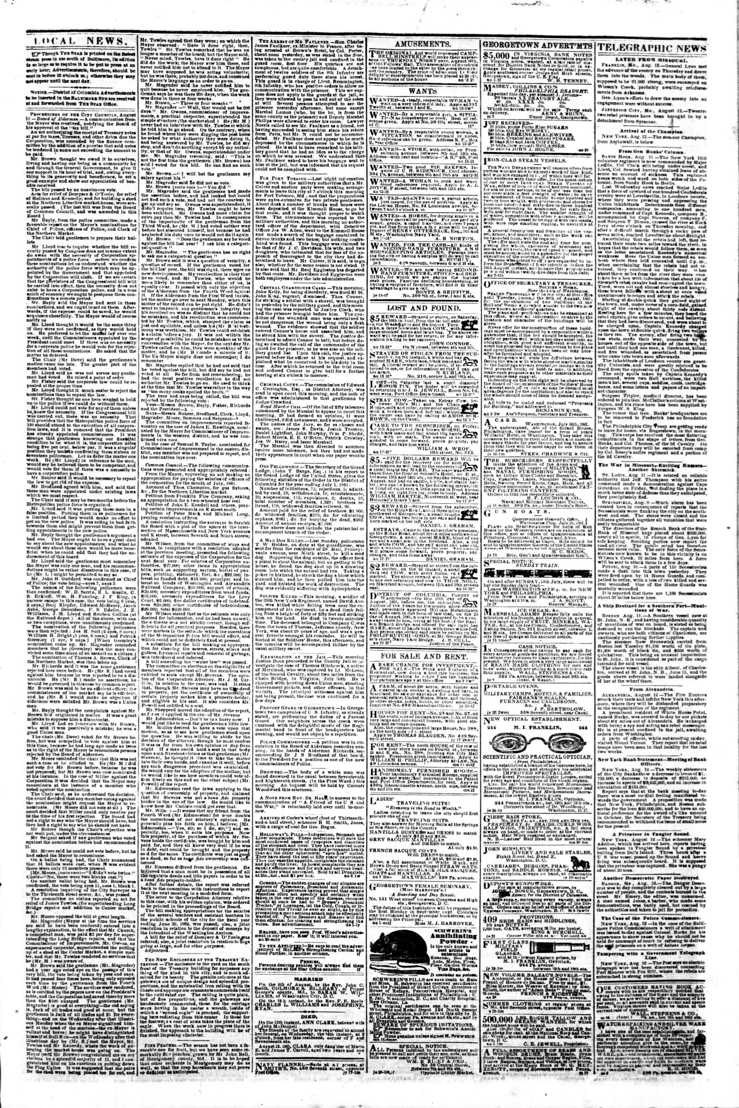 Newspaper of Evening Star dated August 13, 1861 Page 3
