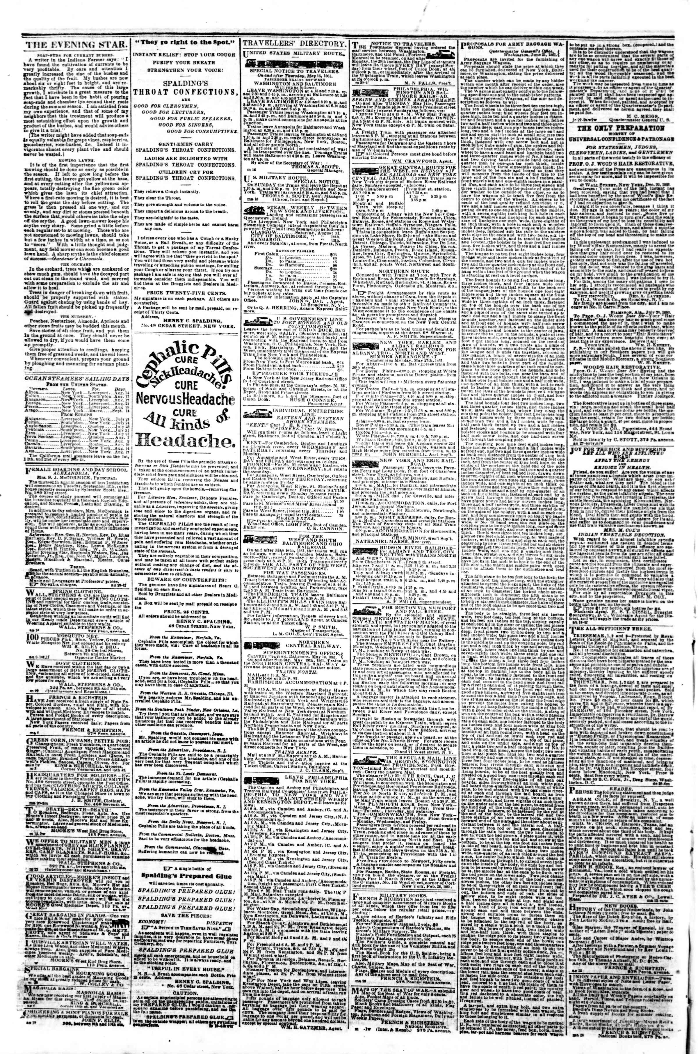 Newspaper of Evening Star dated August 13, 1861 Page 4