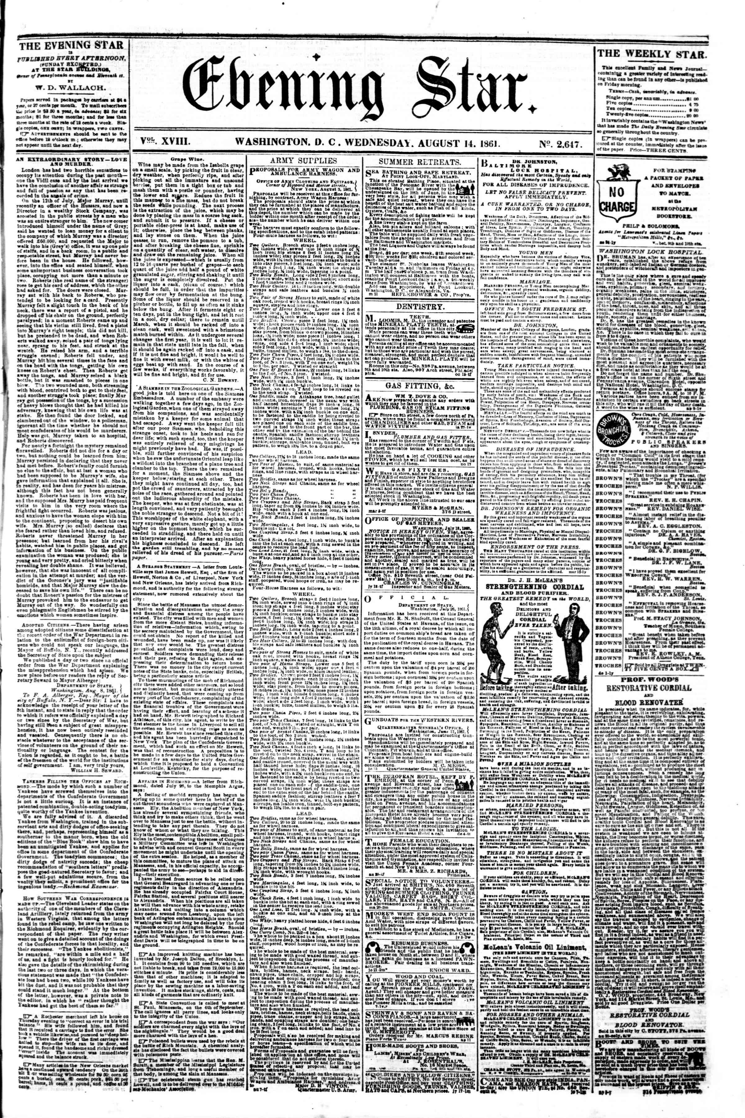 14 Ağustos 1861 tarihli Evening Star Gazetesi Sayfa 1