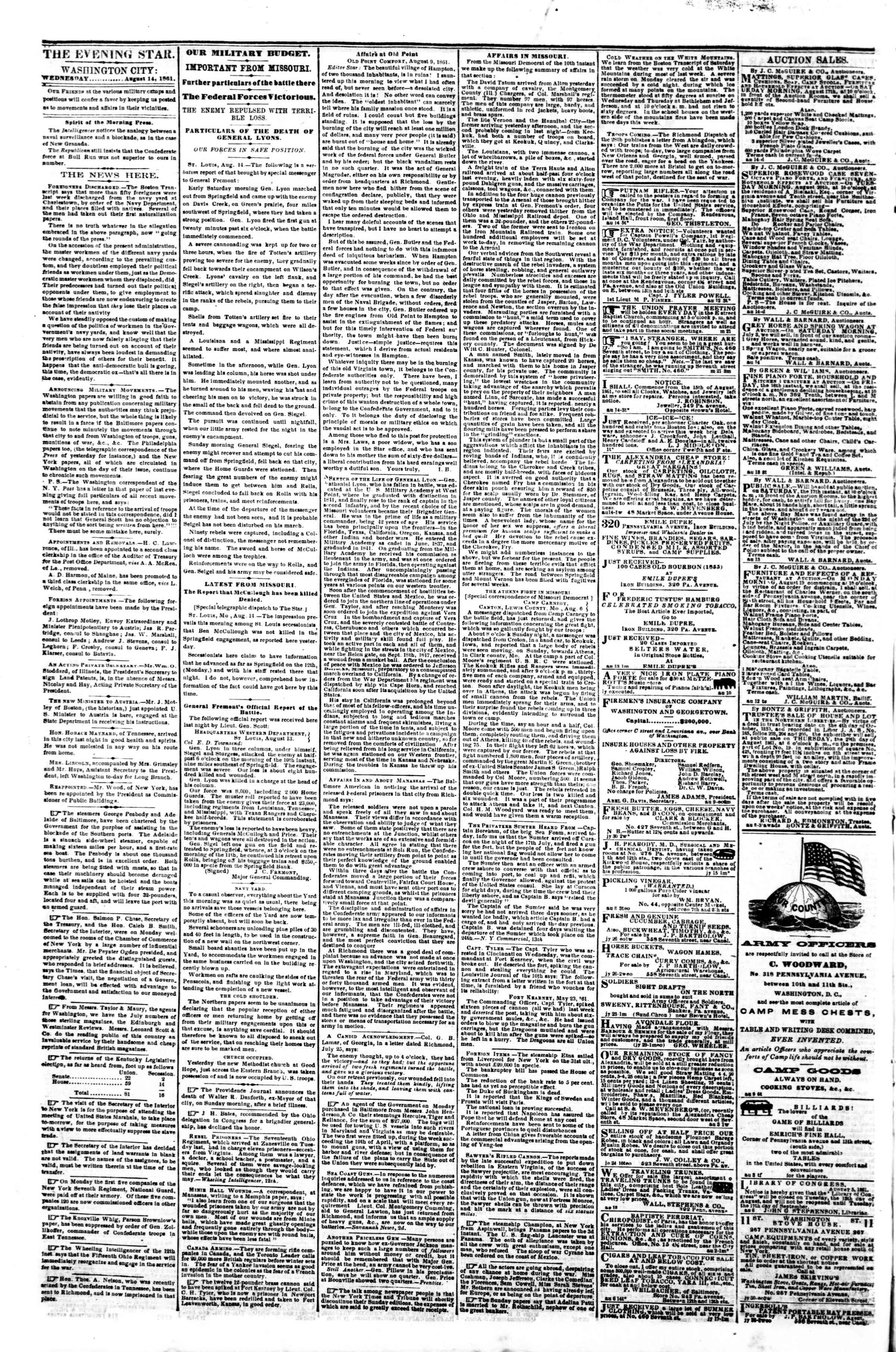Newspaper of Evening Star dated August 14, 1861 Page 2