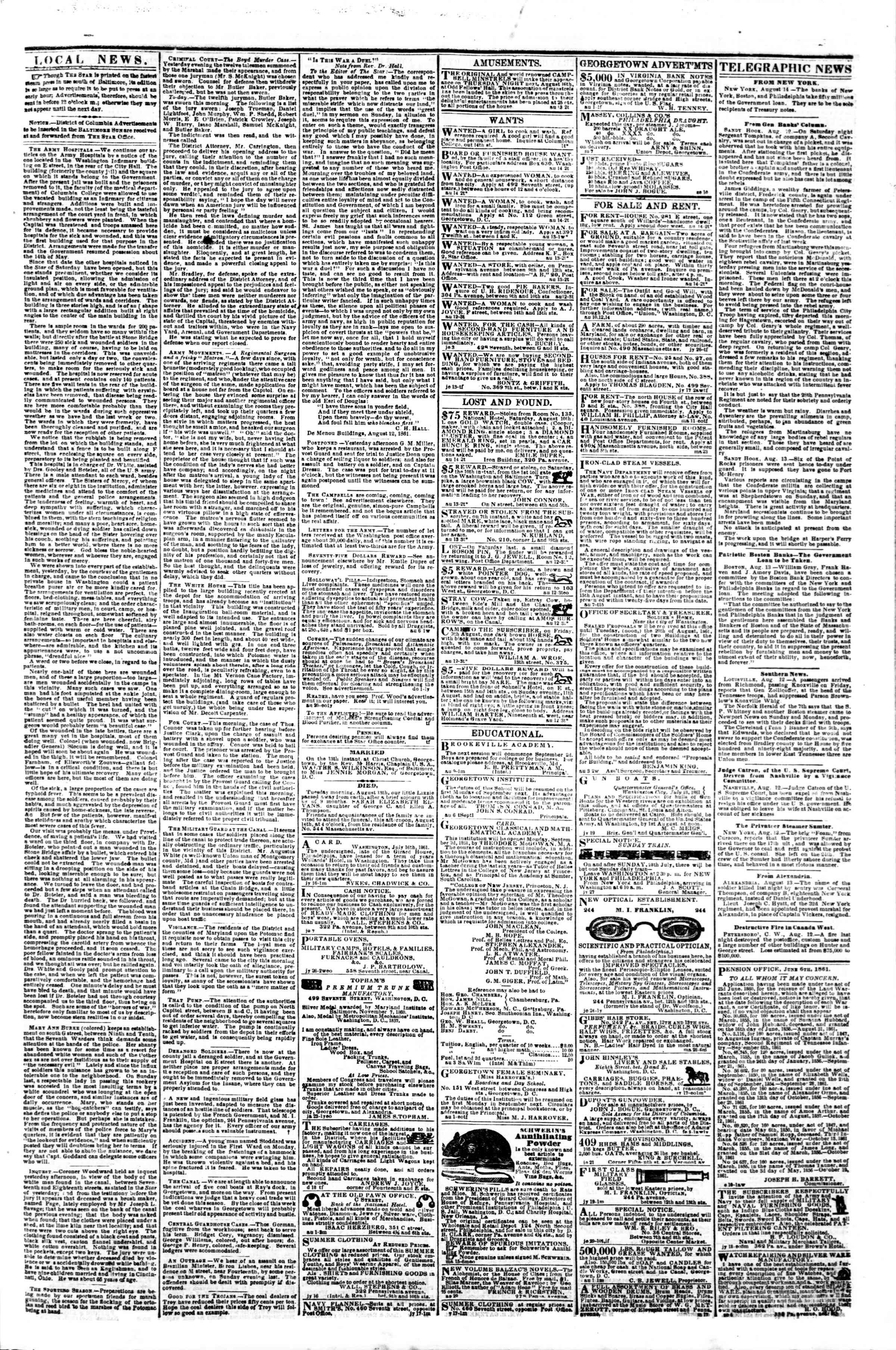 Newspaper of Evening Star dated 14 Ağustos 1861 Page 3