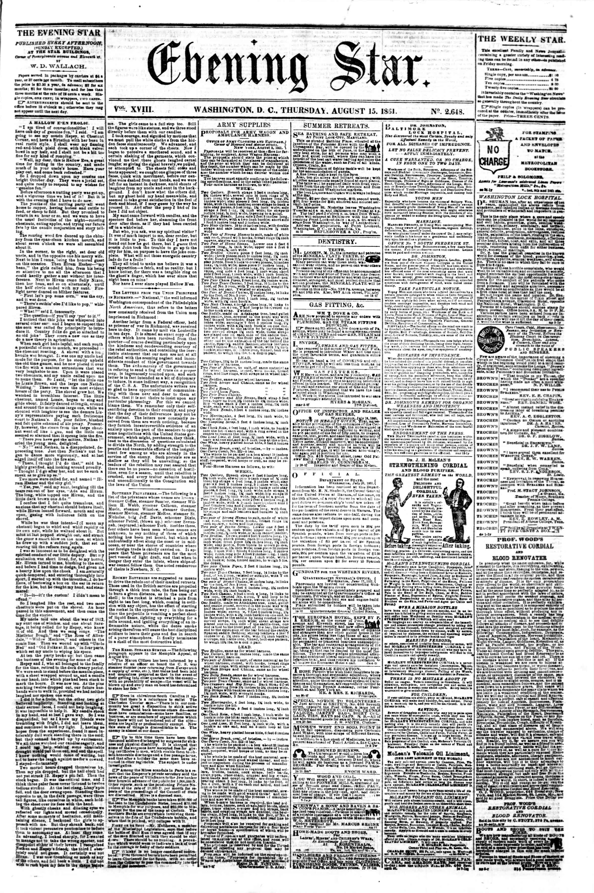 Newspaper of Evening Star dated August 15, 1861 Page 1