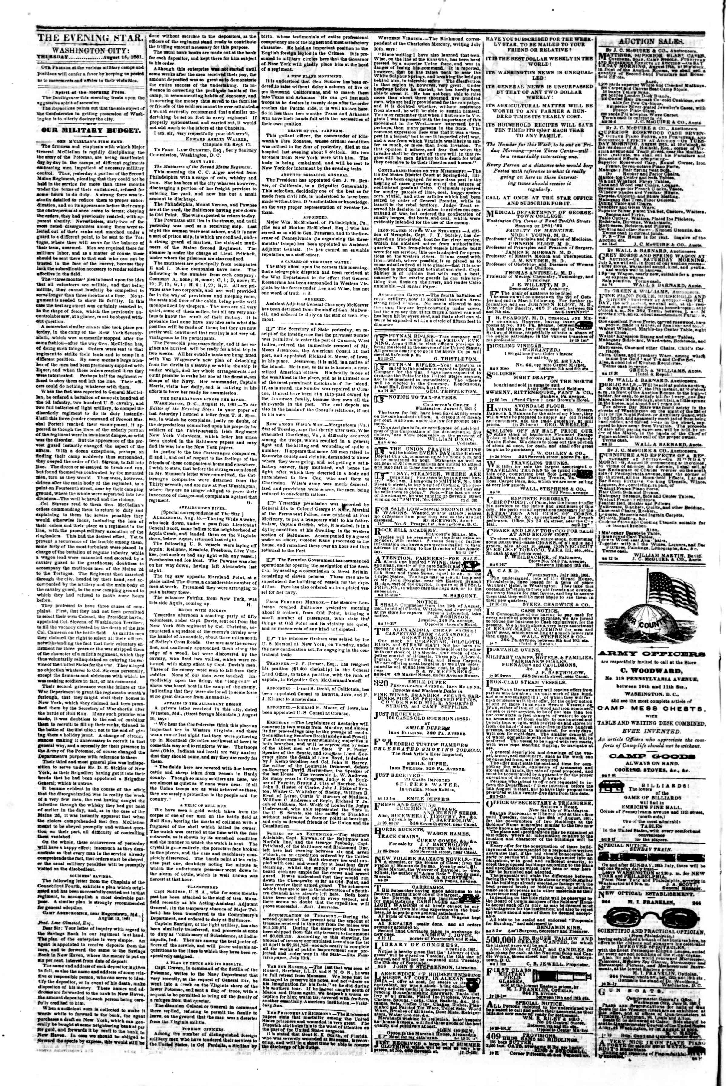 Newspaper of Evening Star dated August 15, 1861 Page 2