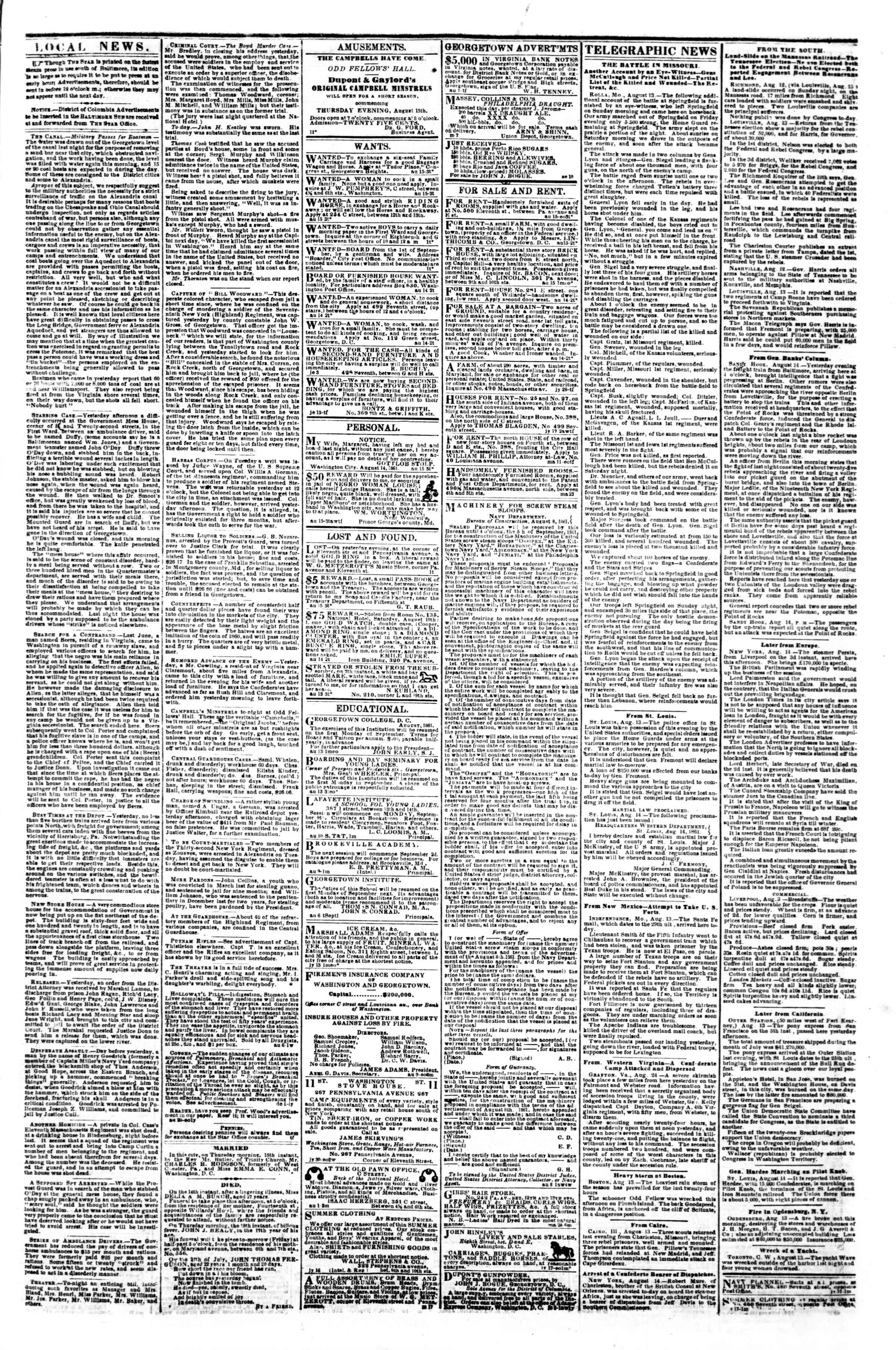Newspaper of Evening Star dated August 15, 1861 Page 3