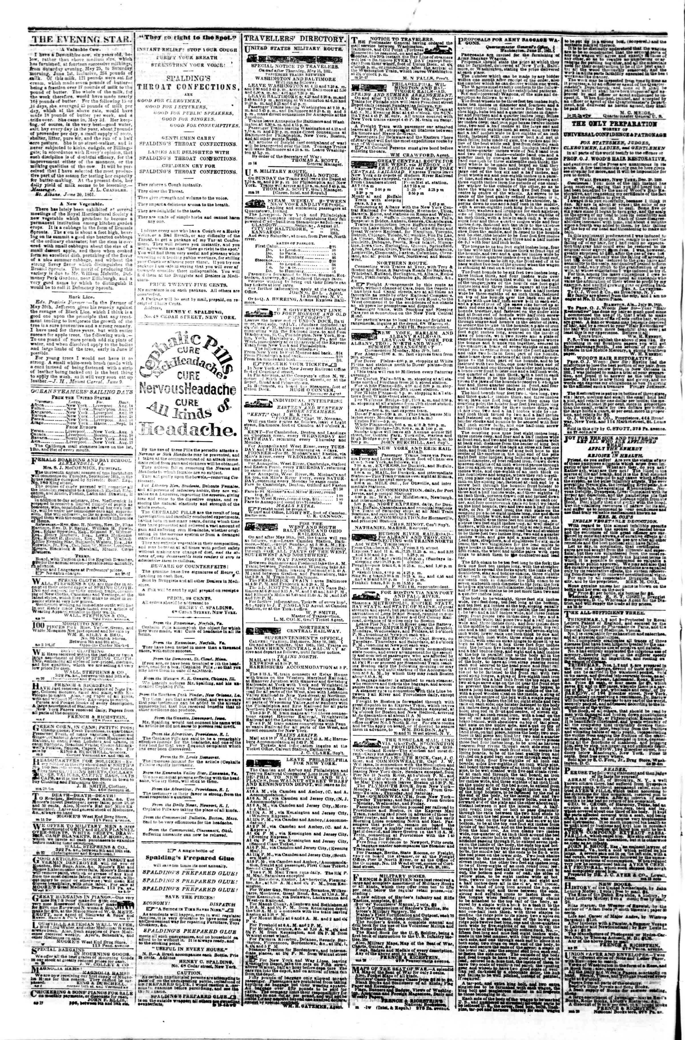 Newspaper of Evening Star dated August 15, 1861 Page 4
