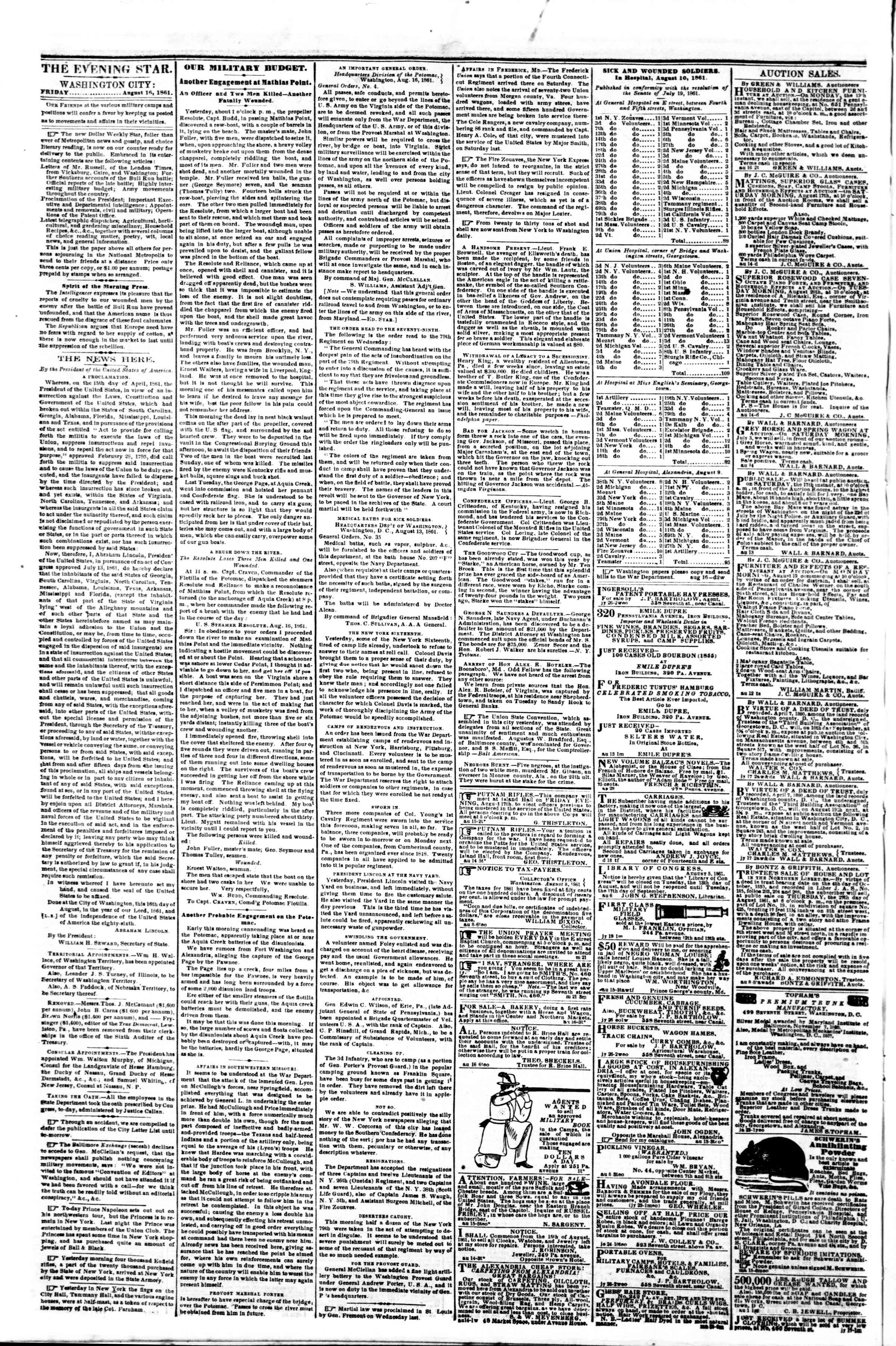 Newspaper of Evening Star dated August 16, 1861 Page 2