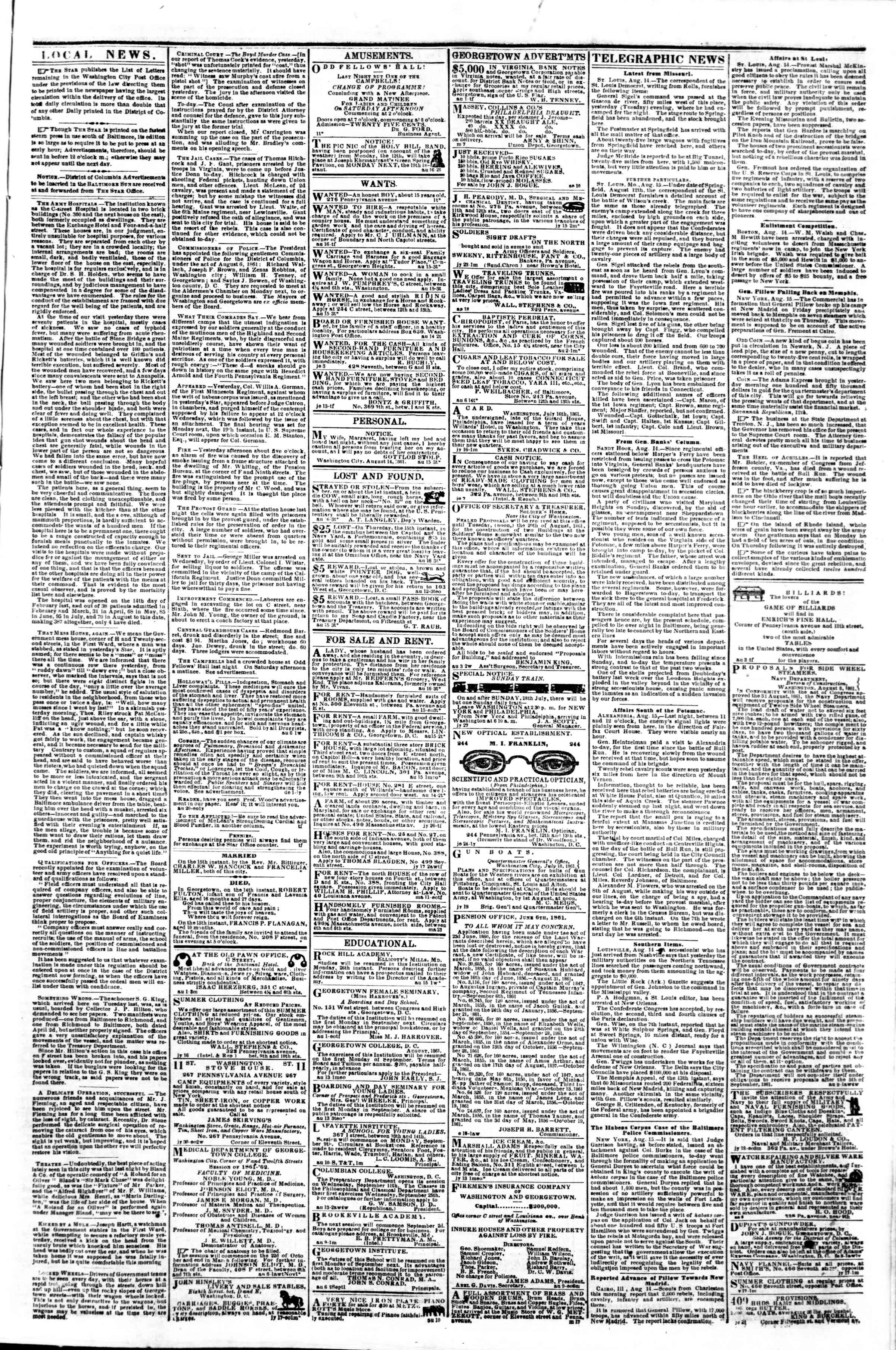 Newspaper of Evening Star dated August 16, 1861 Page 3