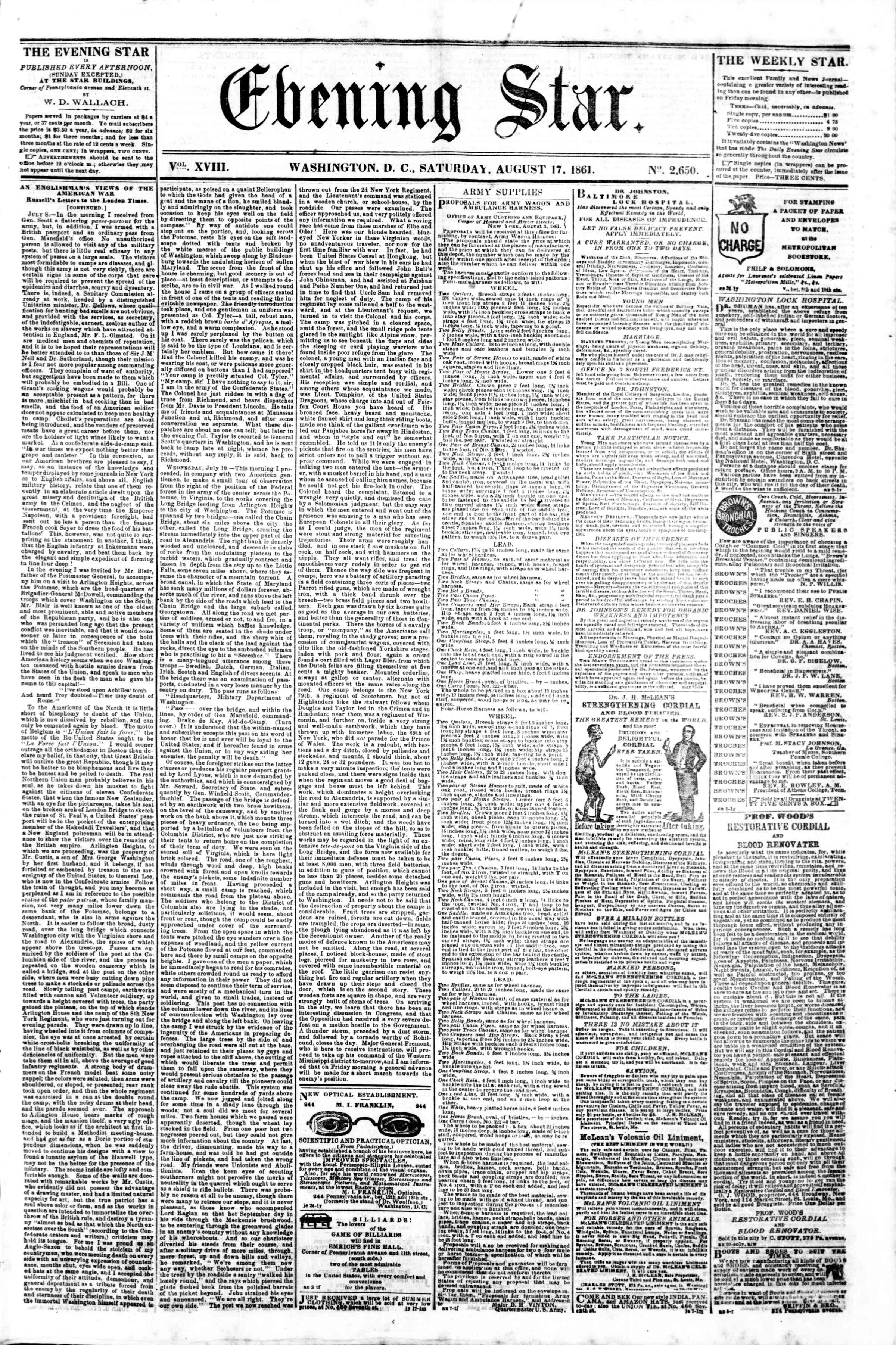 Newspaper of Evening Star dated August 17, 1861 Page 1