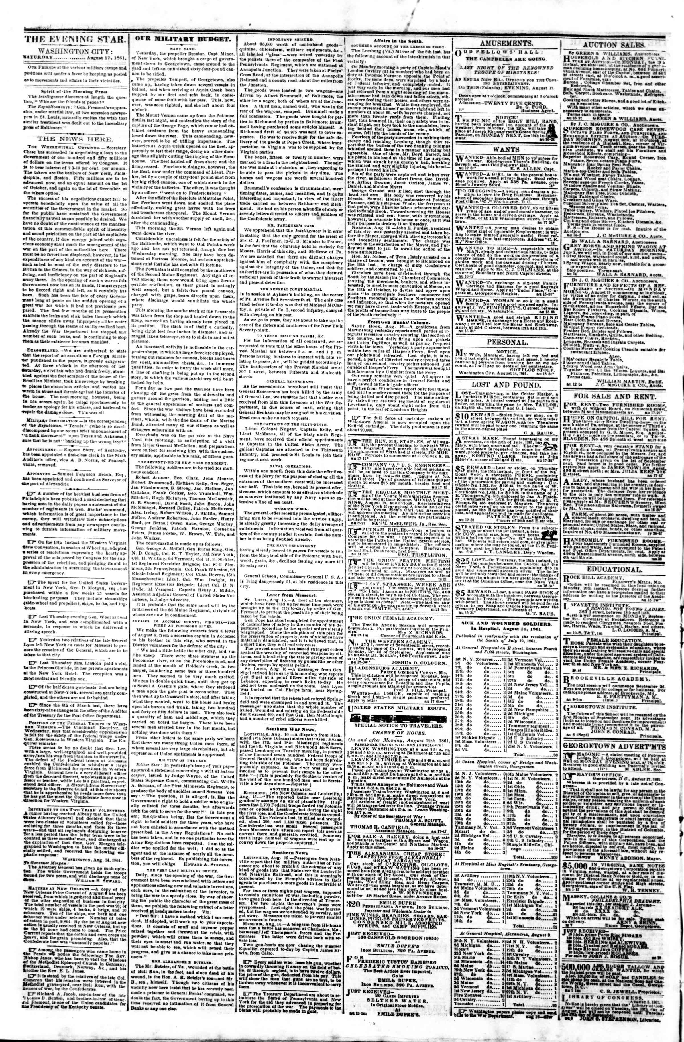 Newspaper of Evening Star dated August 17, 1861 Page 2