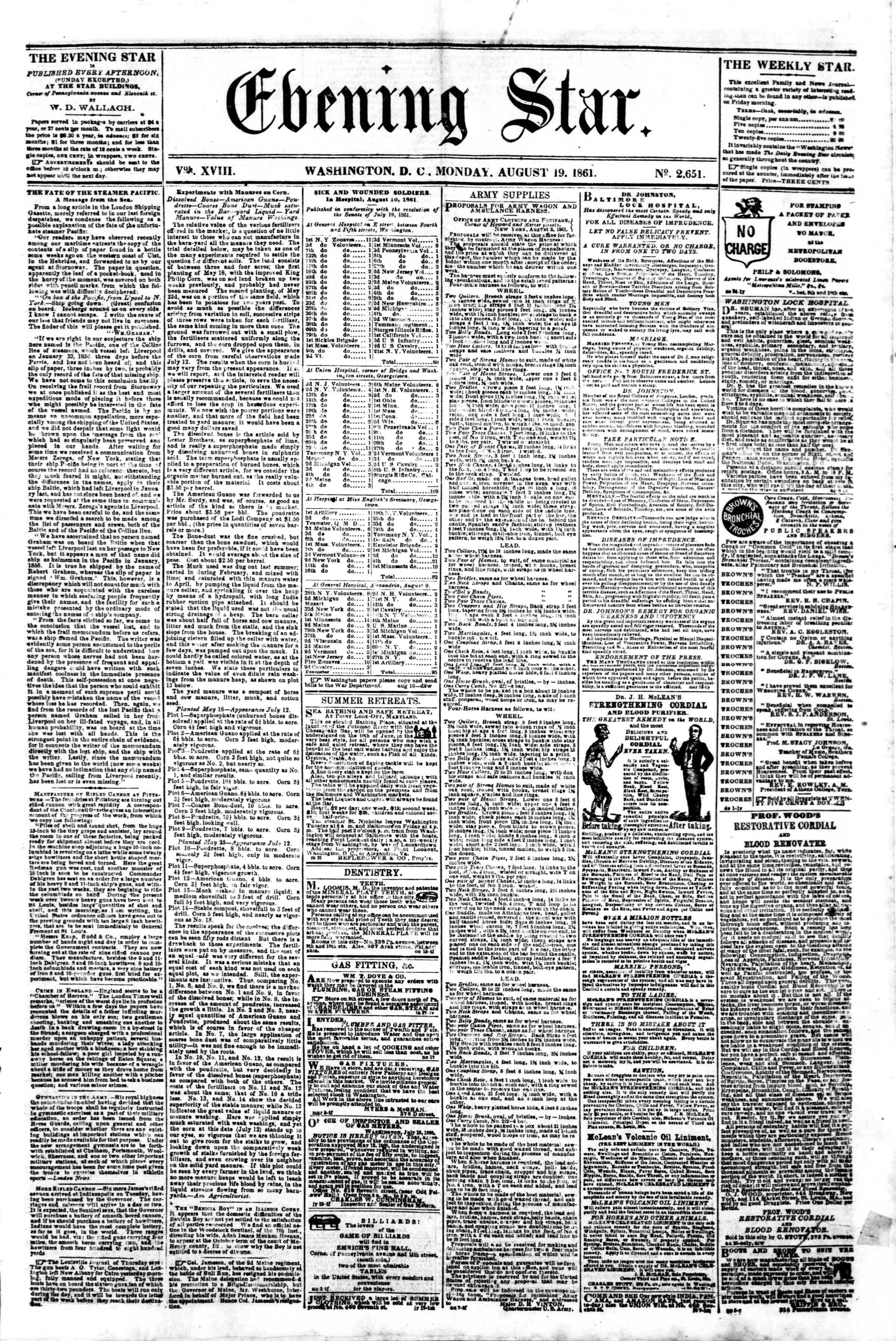 Newspaper of Evening Star dated August 19, 1861 Page 1