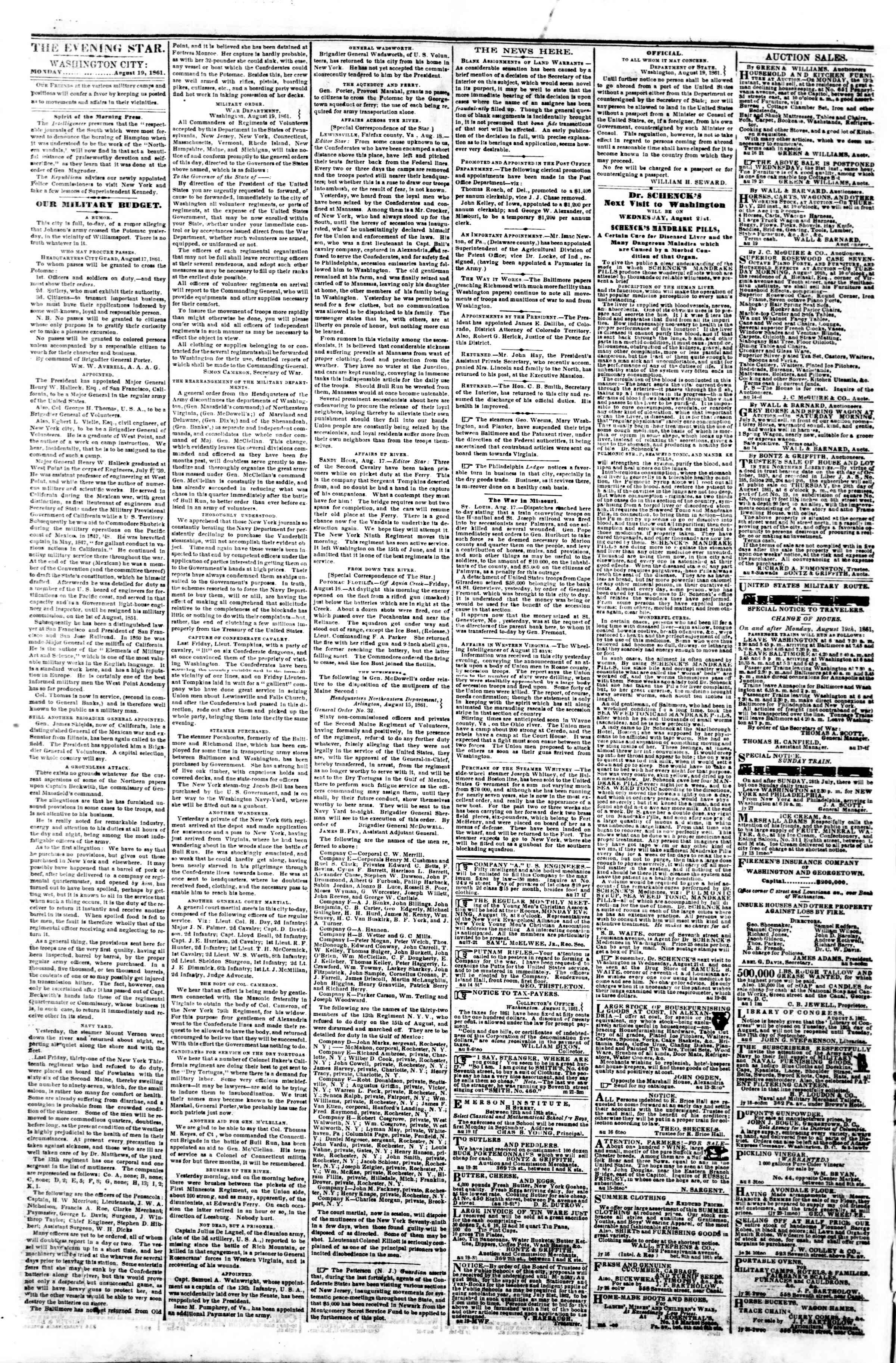 Newspaper of Evening Star dated August 19, 1861 Page 2