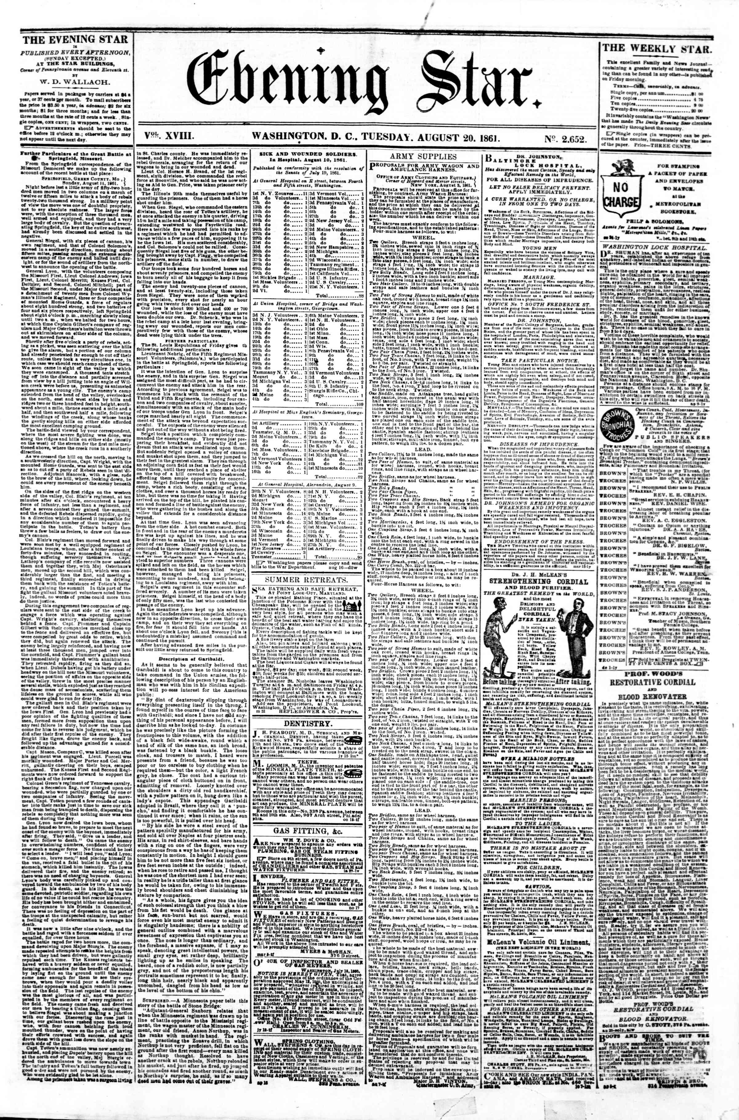 Newspaper of Evening Star dated August 20, 1861 Page 1