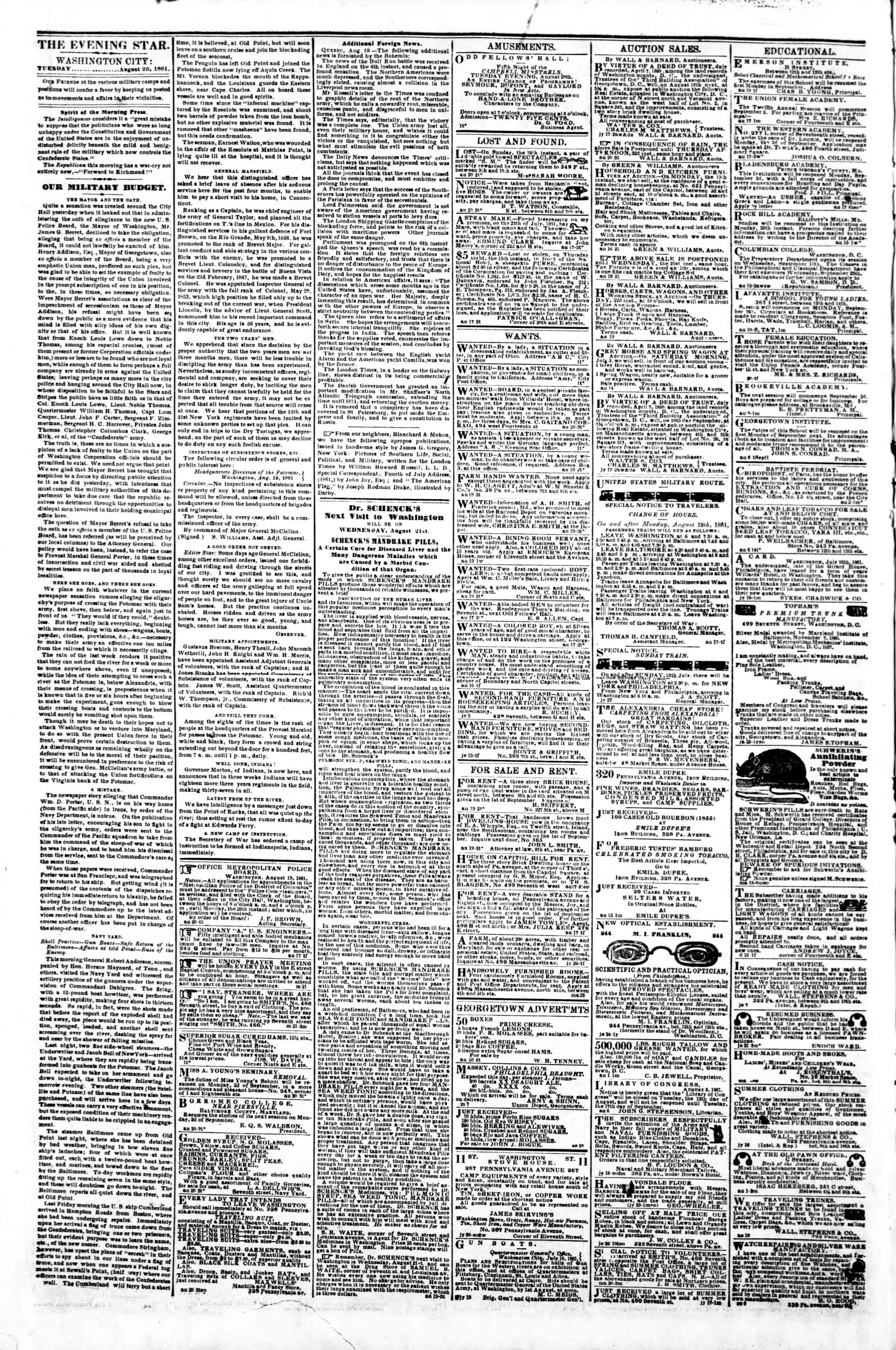 Newspaper of Evening Star dated August 20, 1861 Page 2