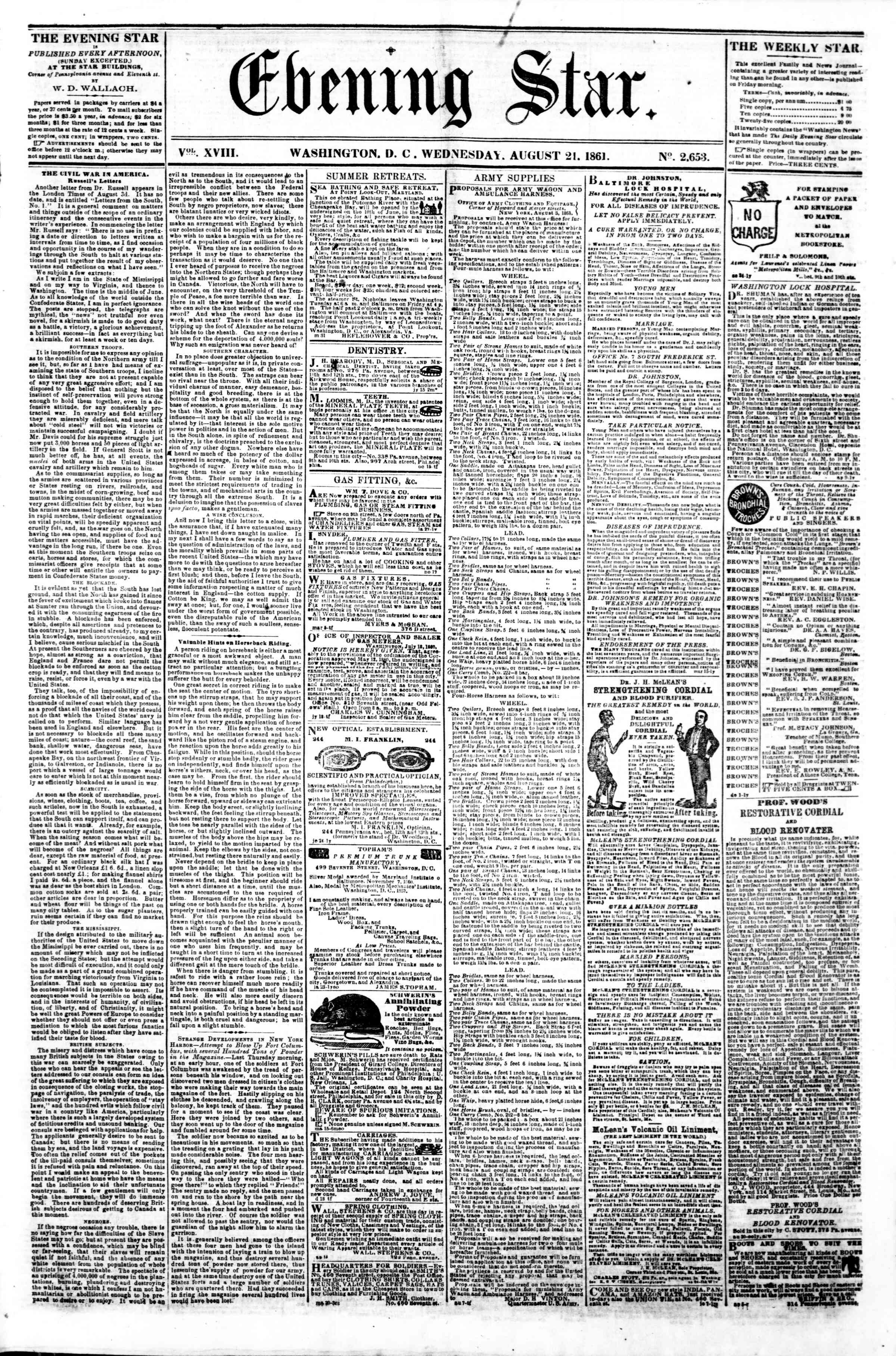 Newspaper of Evening Star dated August 21, 1861 Page 1