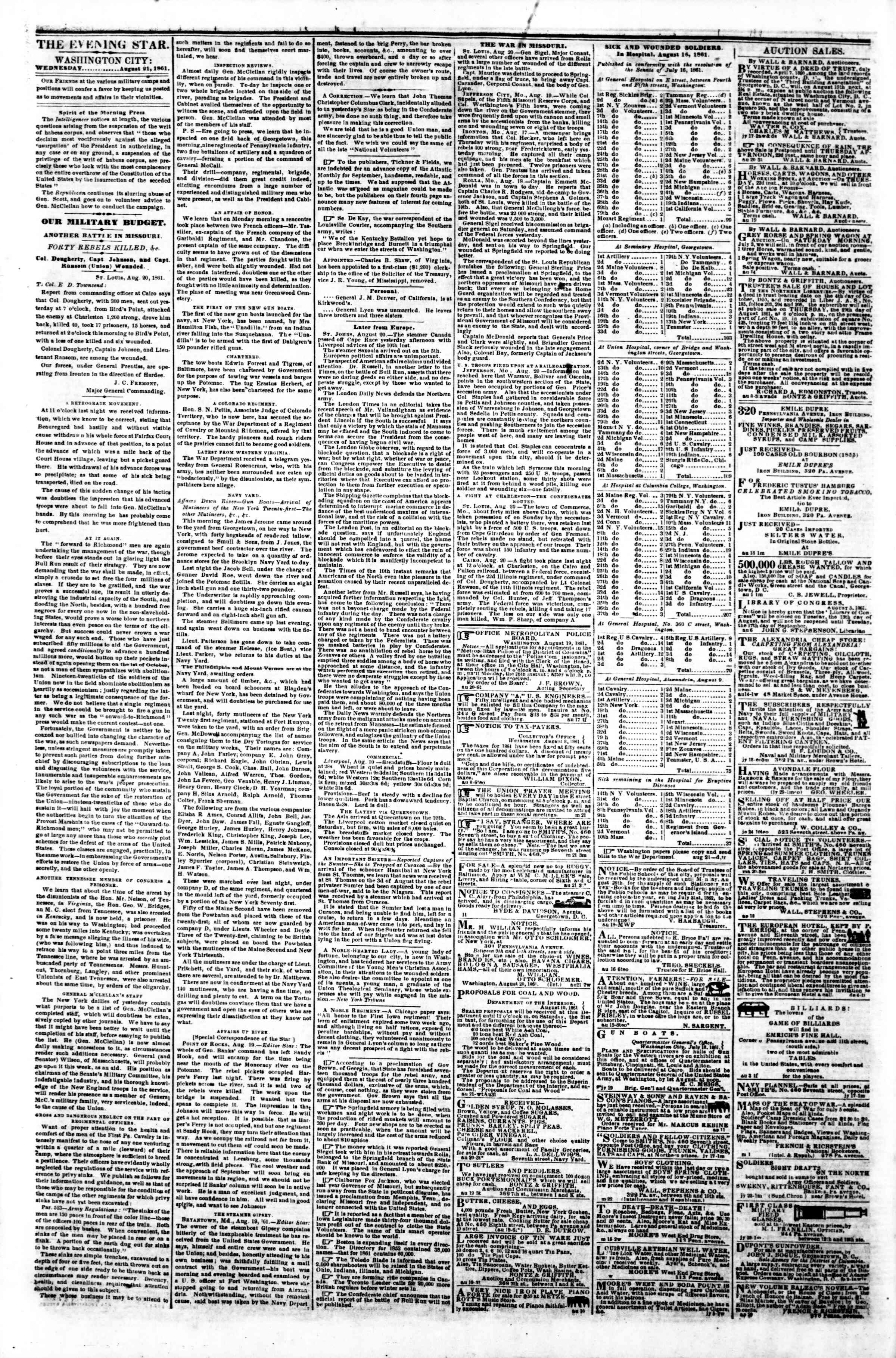 Newspaper of Evening Star dated August 21, 1861 Page 2