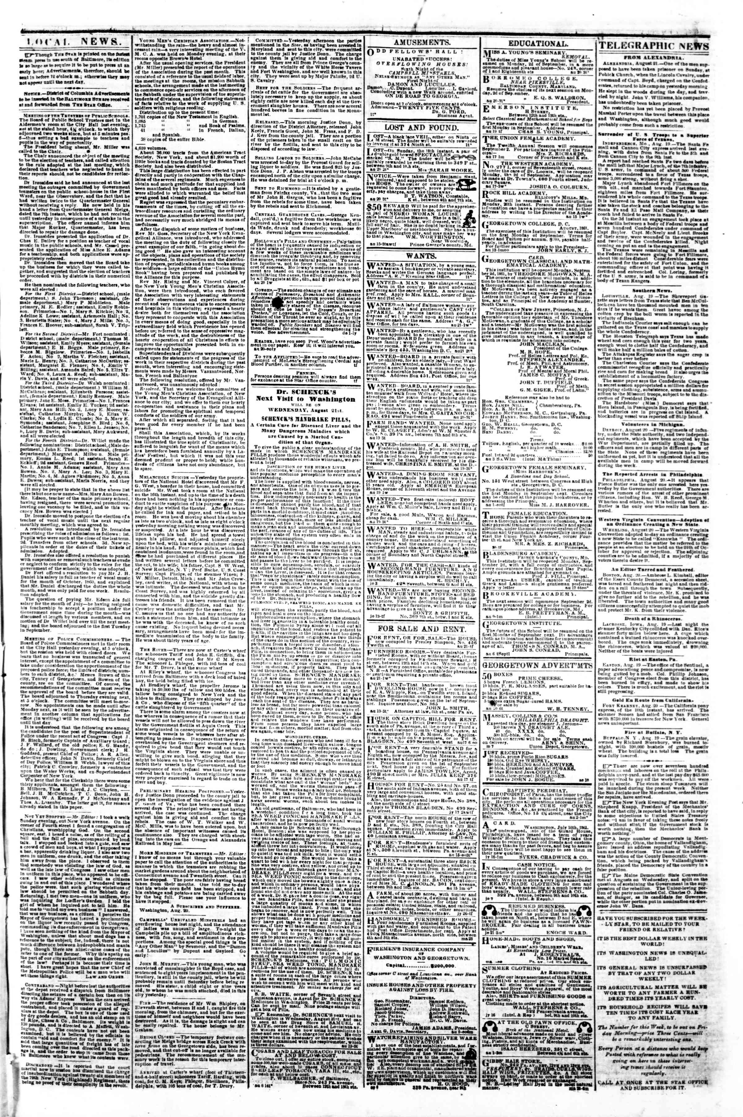 Newspaper of Evening Star dated August 21, 1861 Page 3