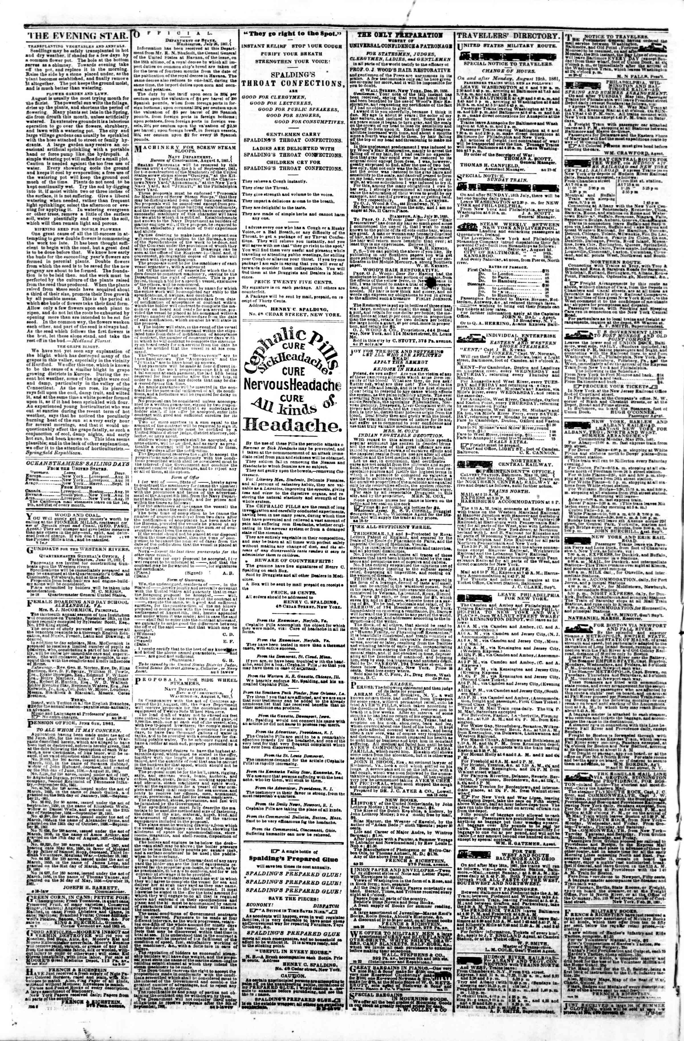 Newspaper of Evening Star dated August 21, 1861 Page 4