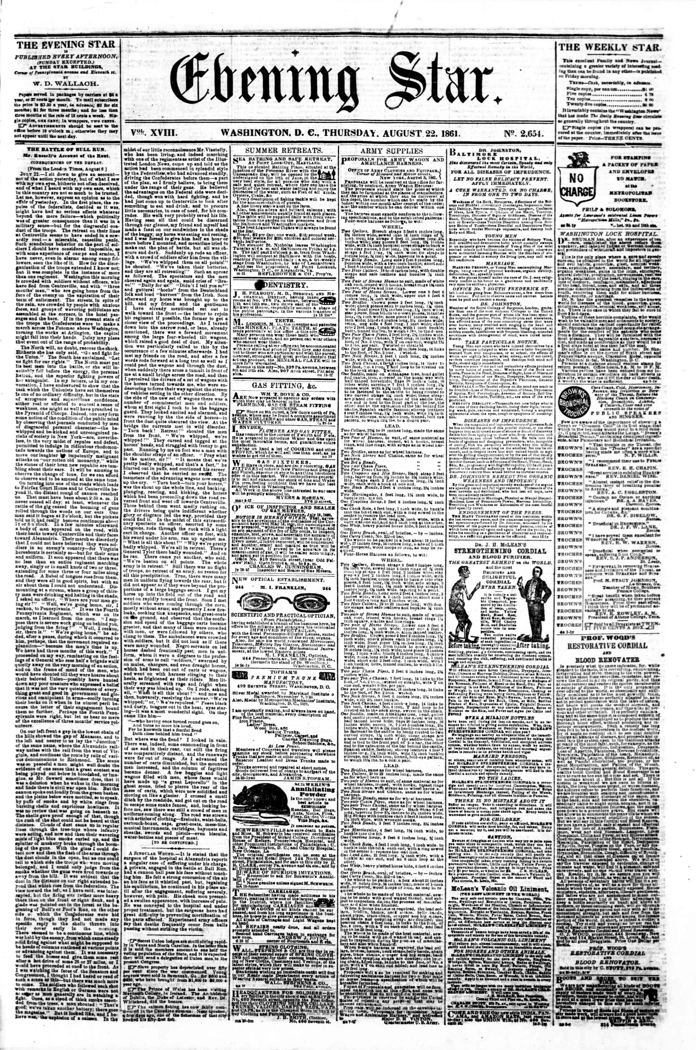 Newspaper of Evening Star dated August 22, 1861 Page 1