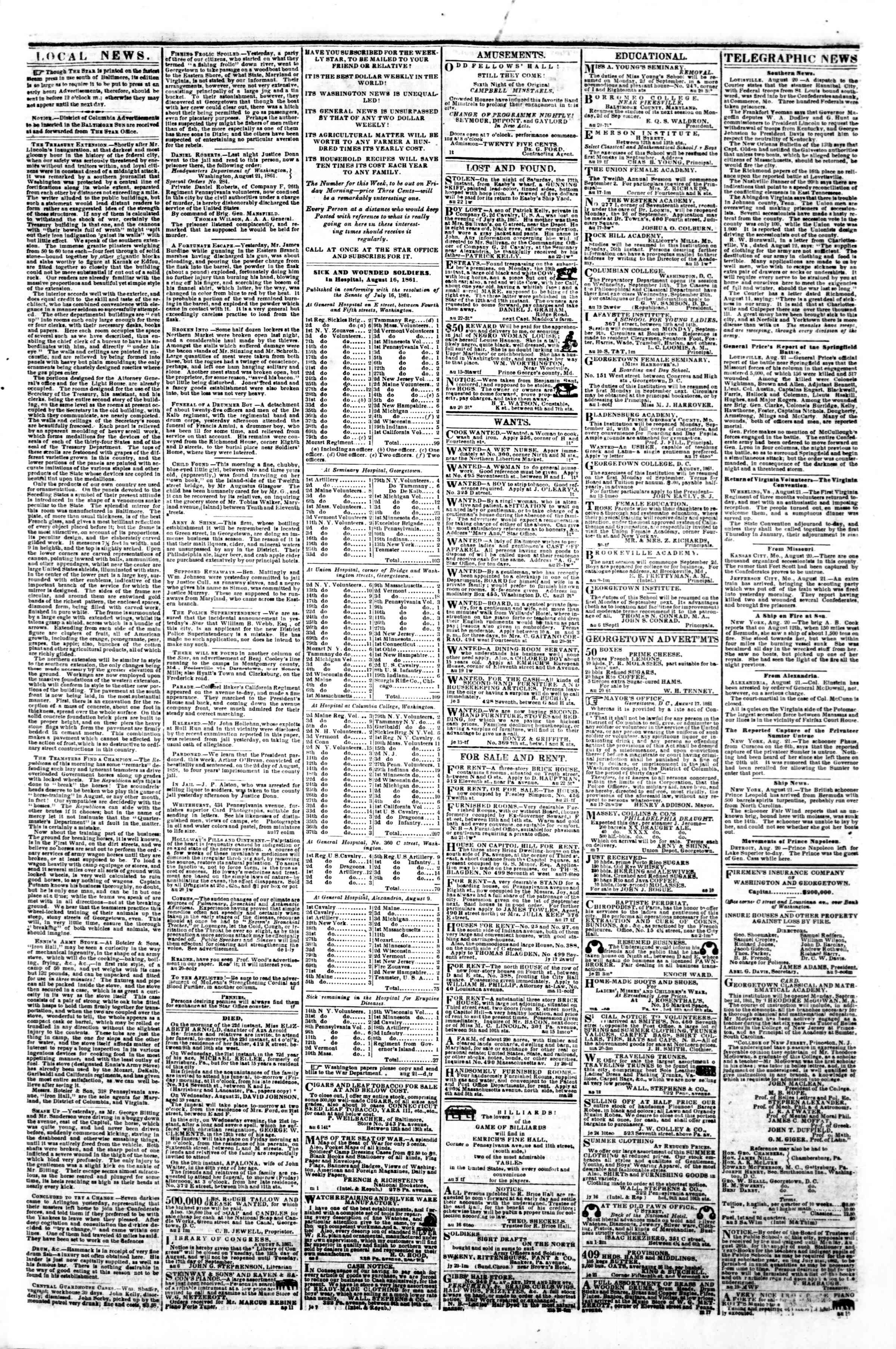 Newspaper of Evening Star dated August 22, 1861 Page 3