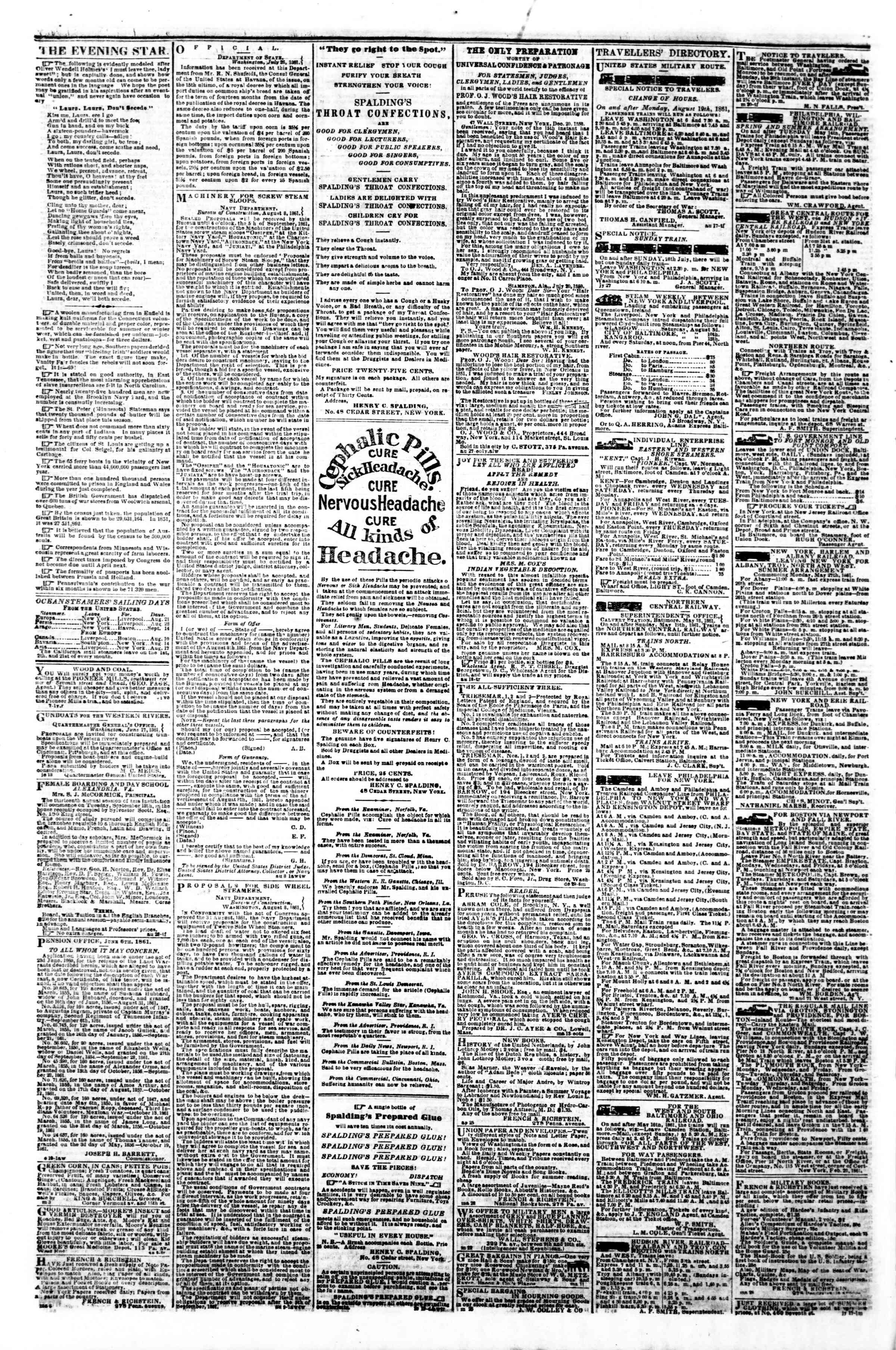 Newspaper of Evening Star dated August 22, 1861 Page 4