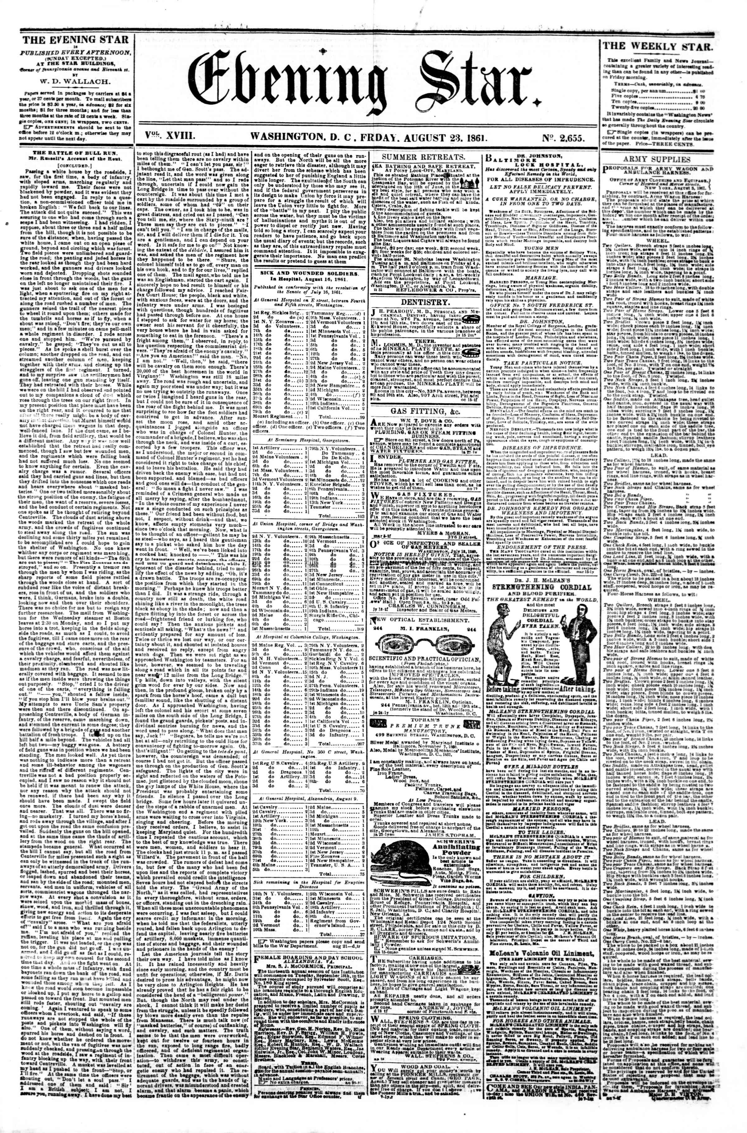 Newspaper of Evening Star dated 23 Ağustos 1861 Page 1
