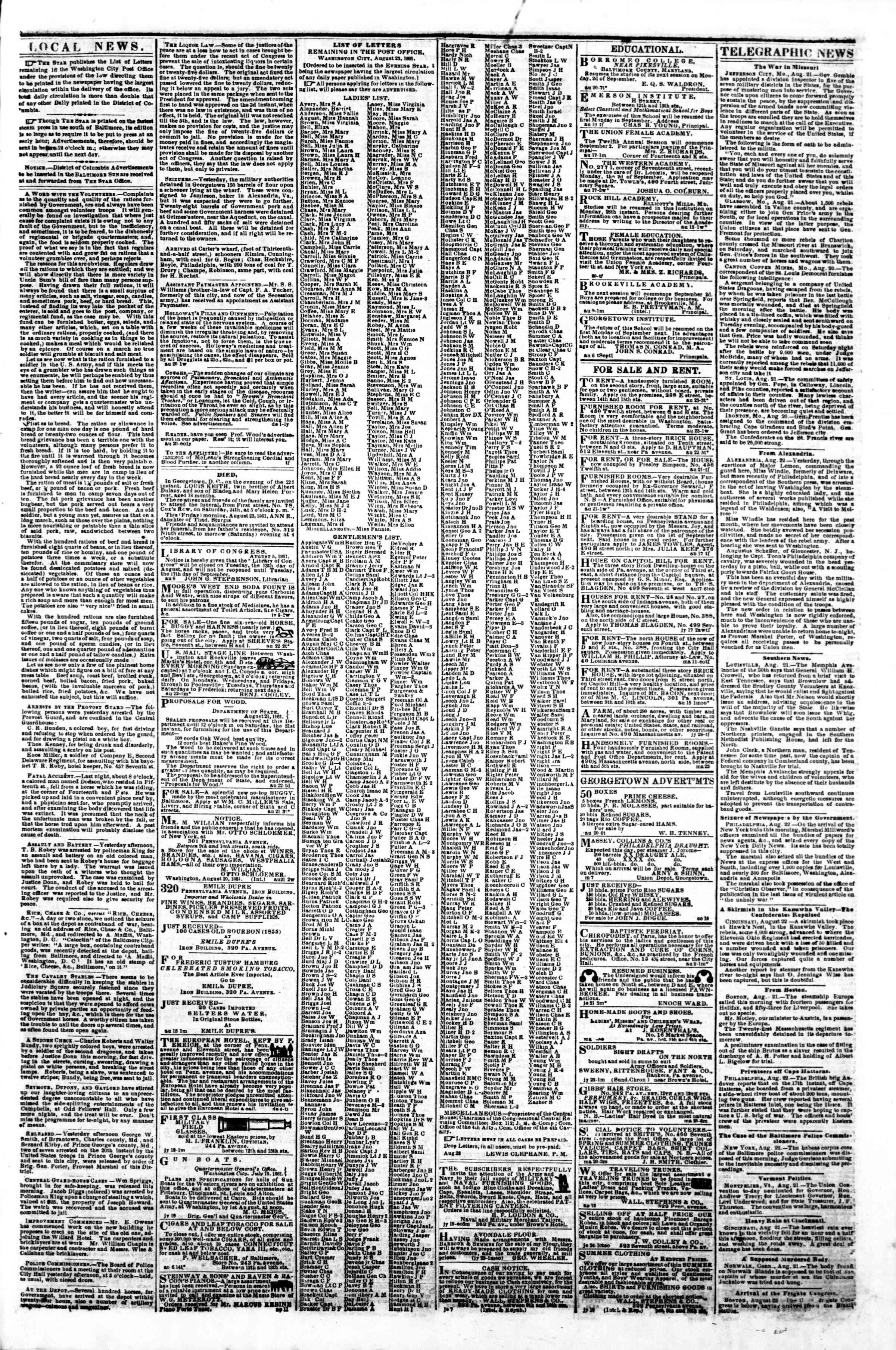 23 Ağustos 1861 tarihli Evening Star Gazetesi Sayfa 3