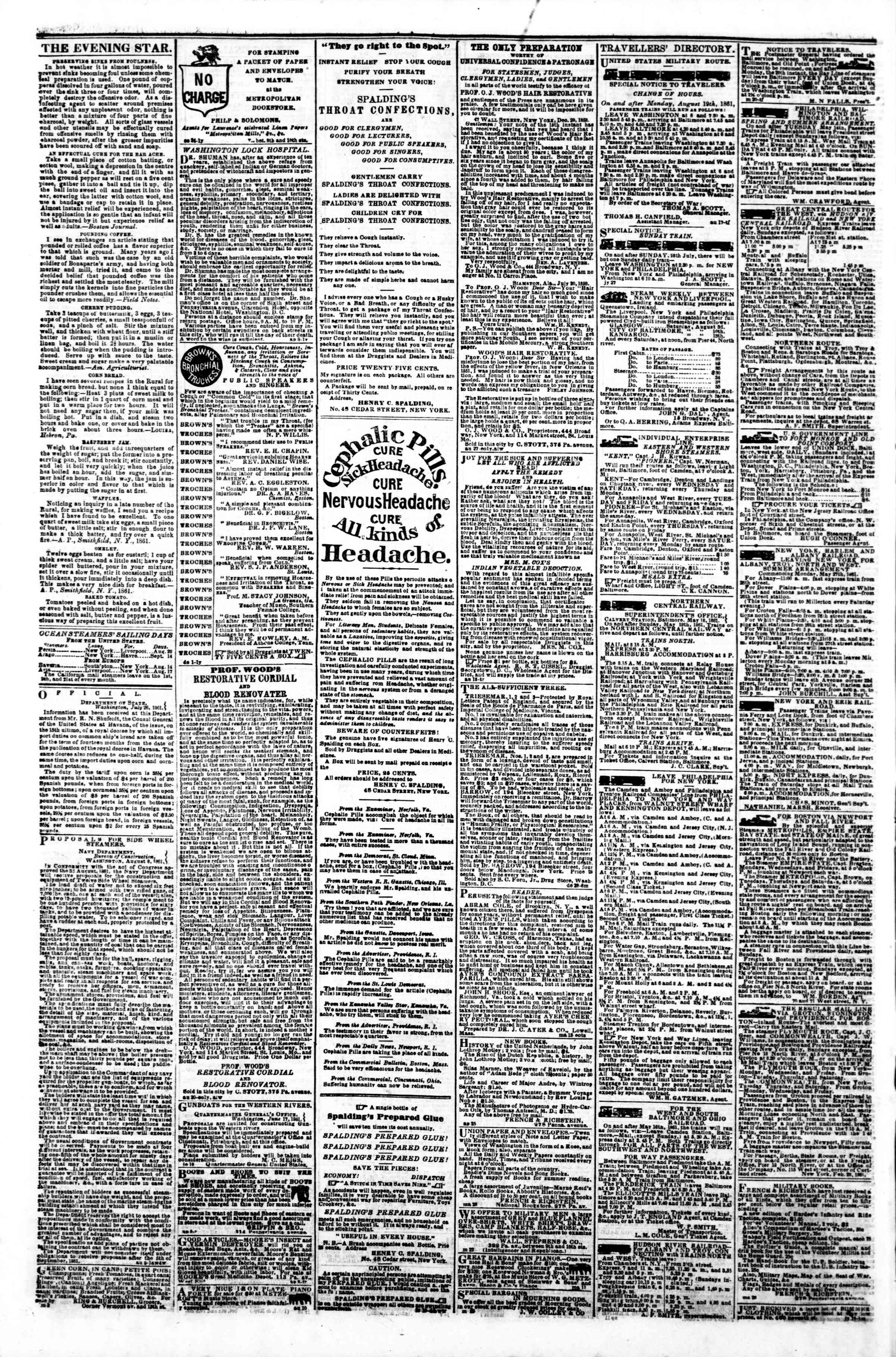 Newspaper of Evening Star dated August 23, 1861 Page 4