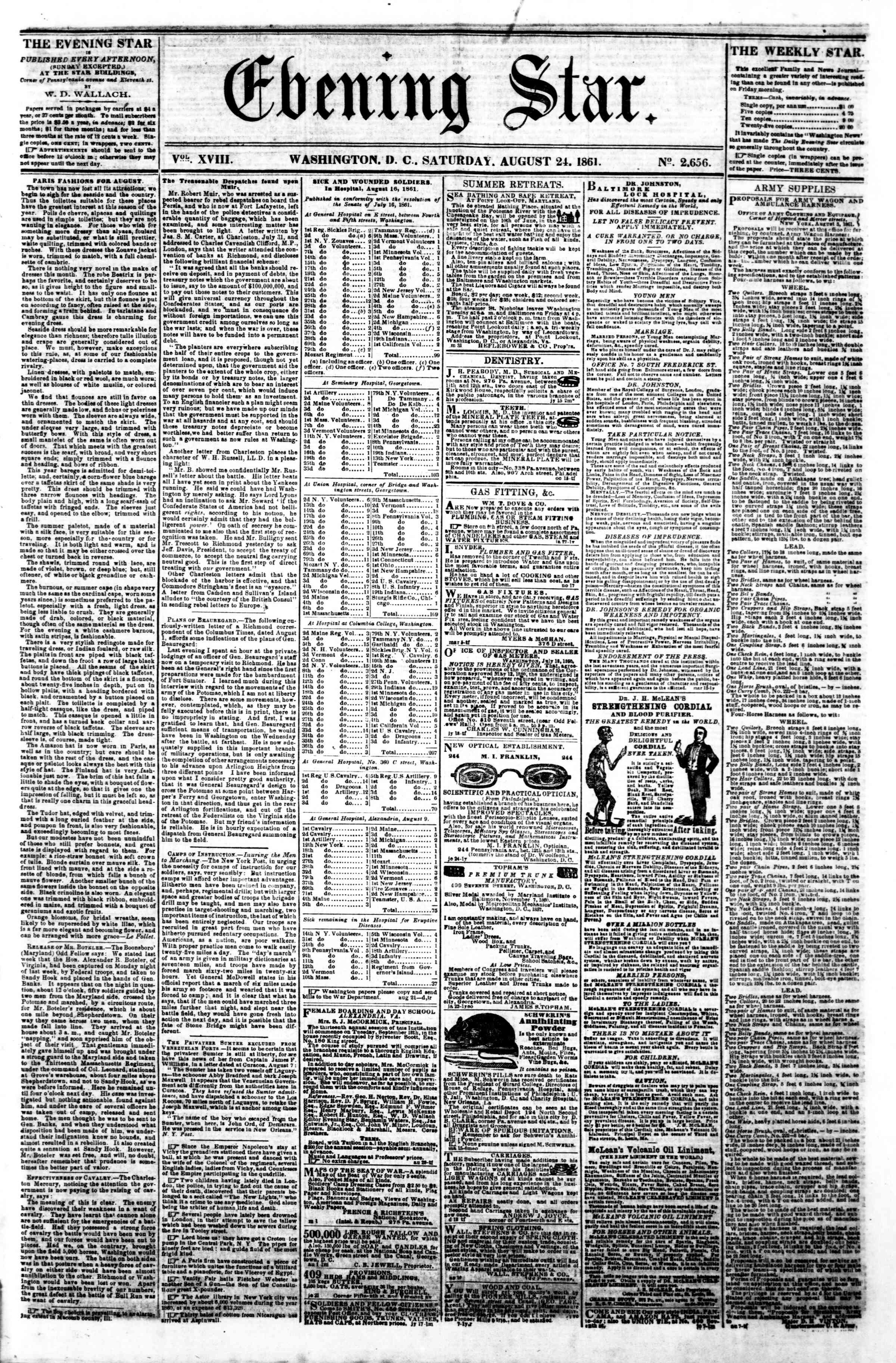 Newspaper of Evening Star dated August 24, 1861 Page 1