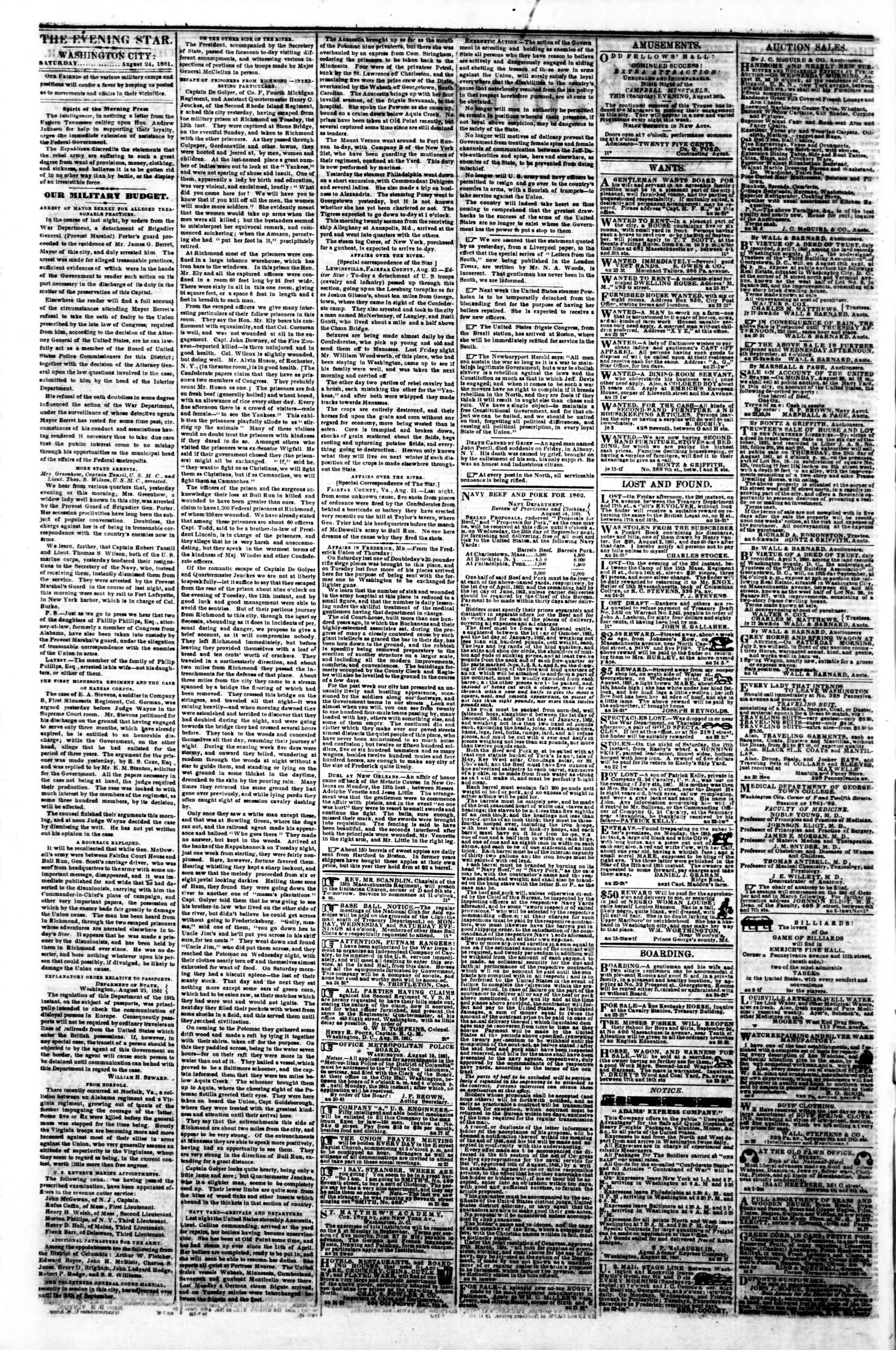 Newspaper of Evening Star dated August 24, 1861 Page 2