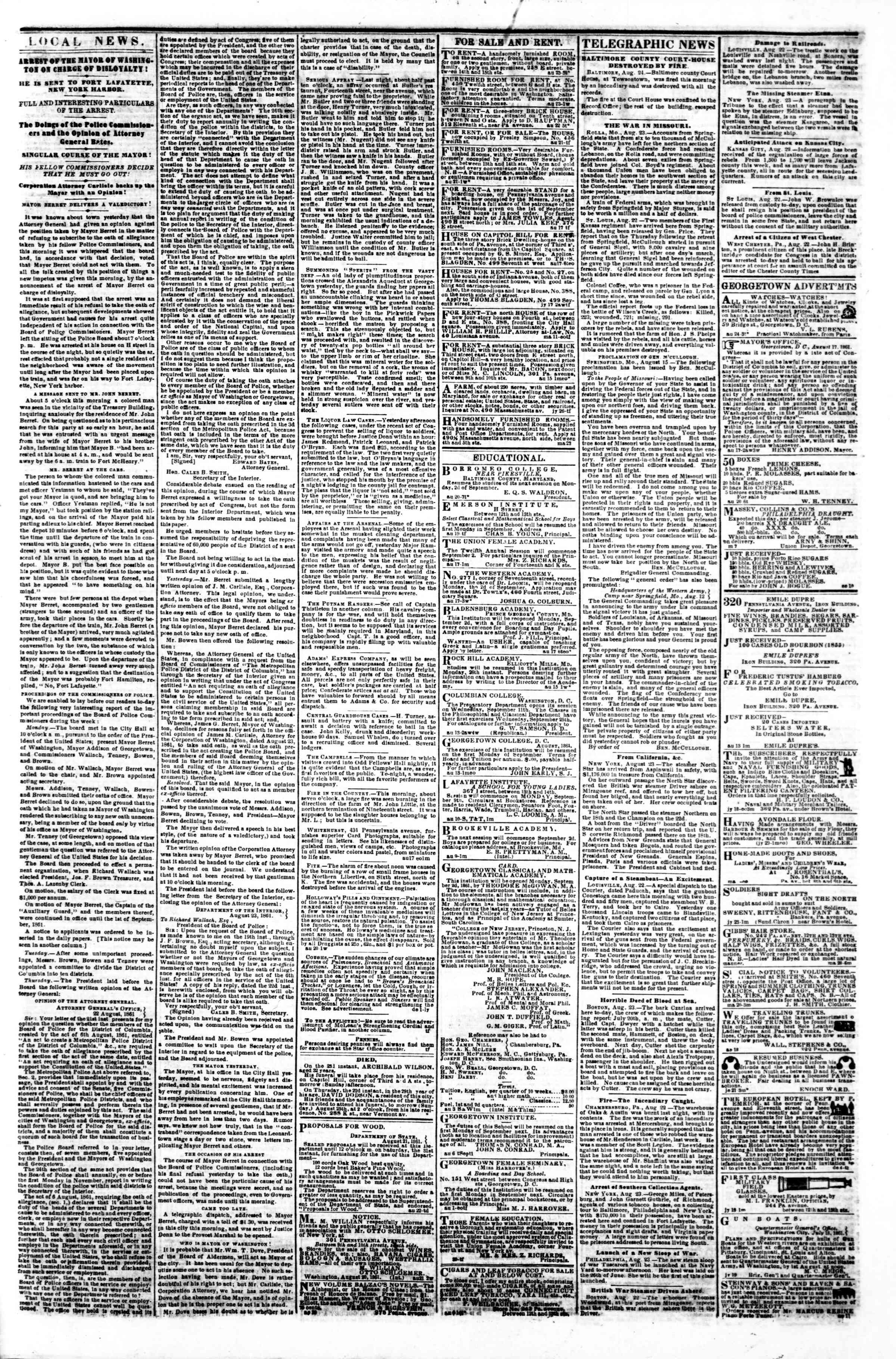 Newspaper of Evening Star dated August 24, 1861 Page 3